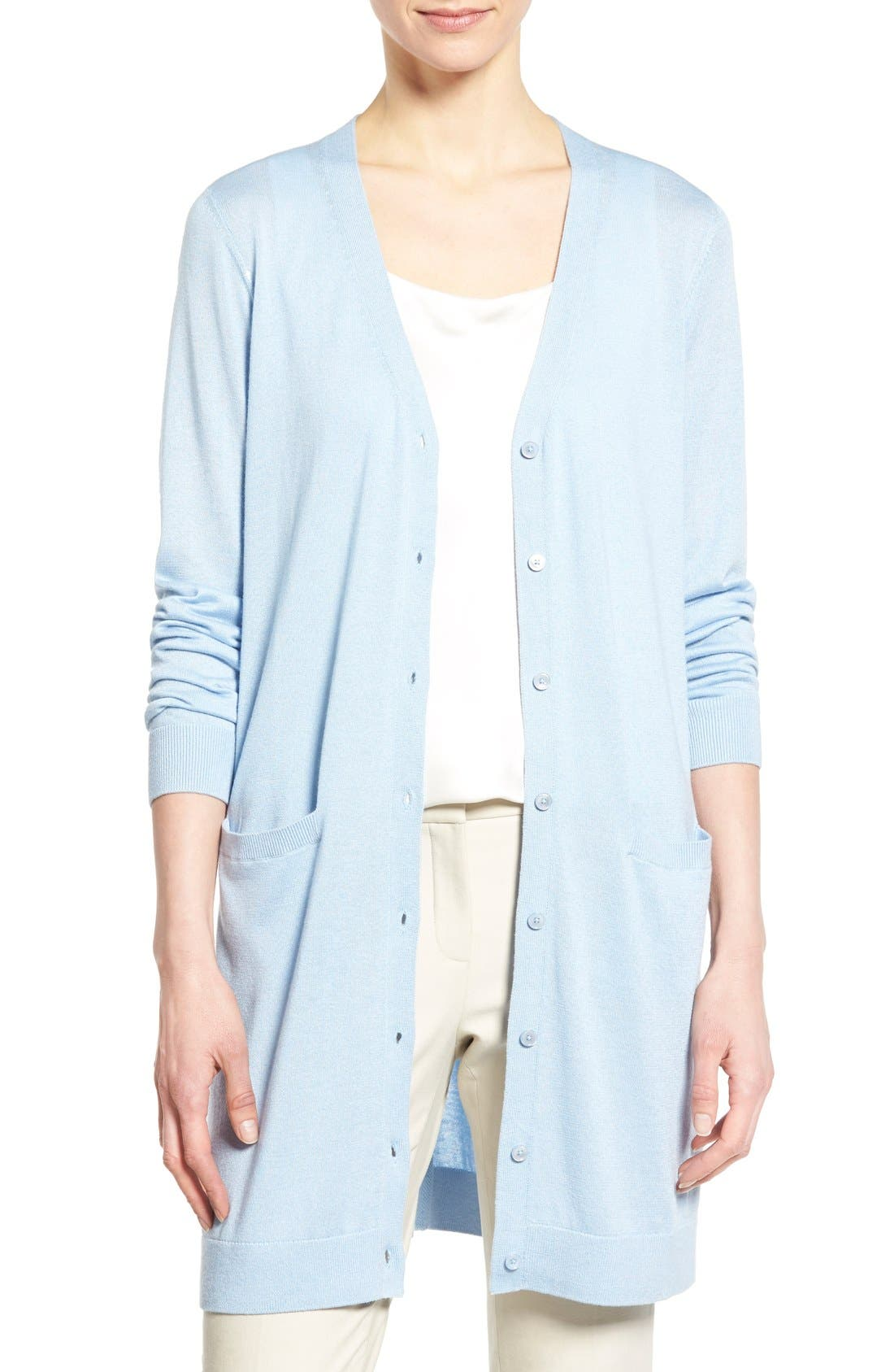 Main Image - Nordstrom Collection Silk & Cashmere Long V-Neck Cardigan