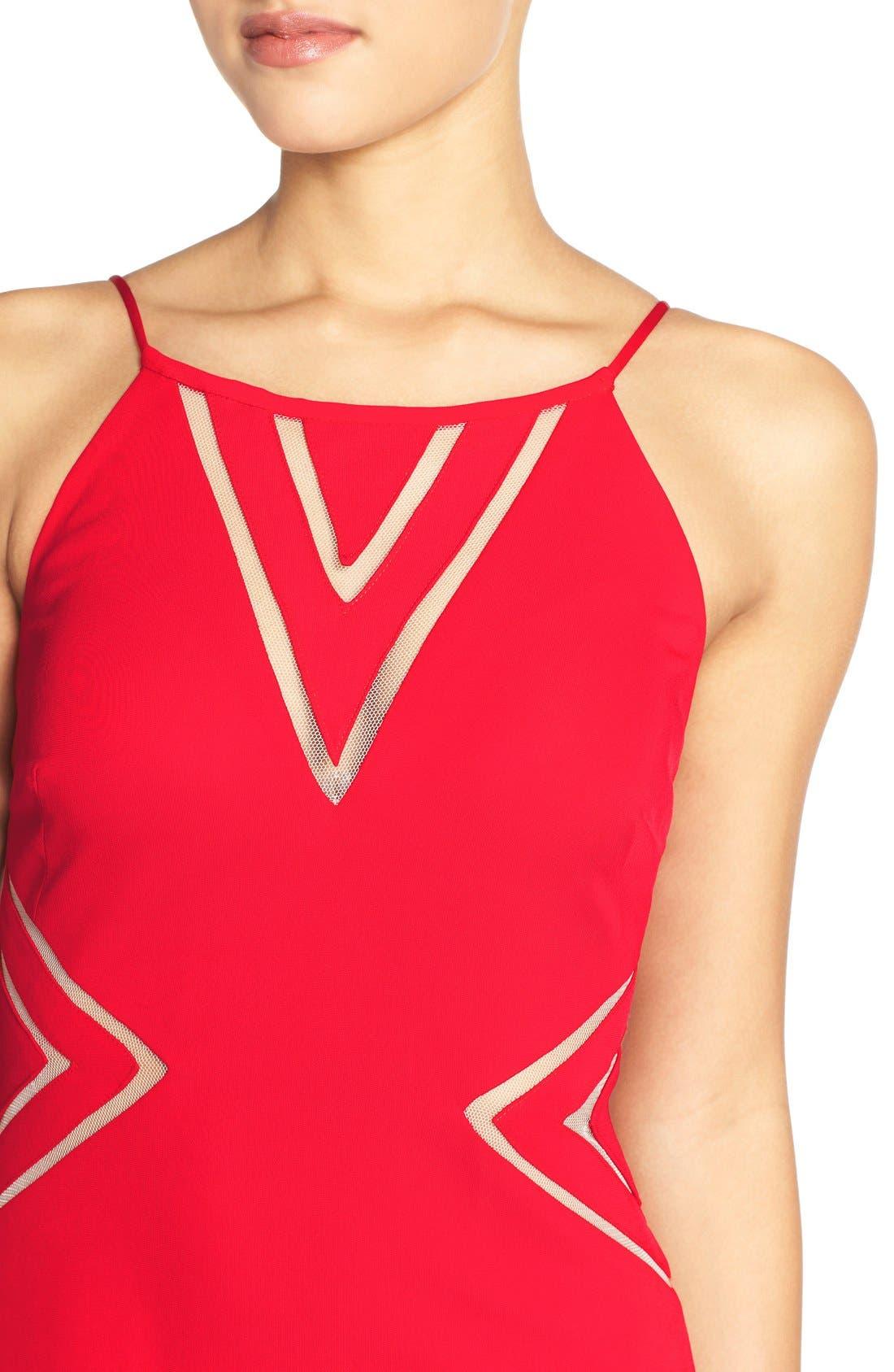 Alternate Image 4  - Aidan Mattox Mesh Inset Jersey Gown