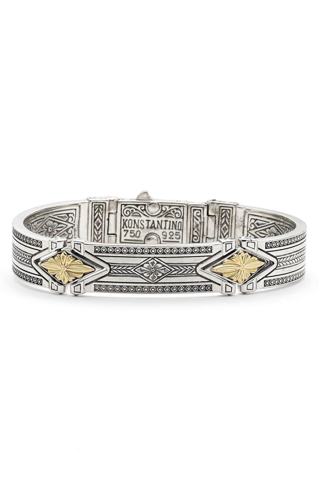 'Orpheus' Etched Hinge Bracelet,                             Main thumbnail 1, color,                             Silver/ Gold