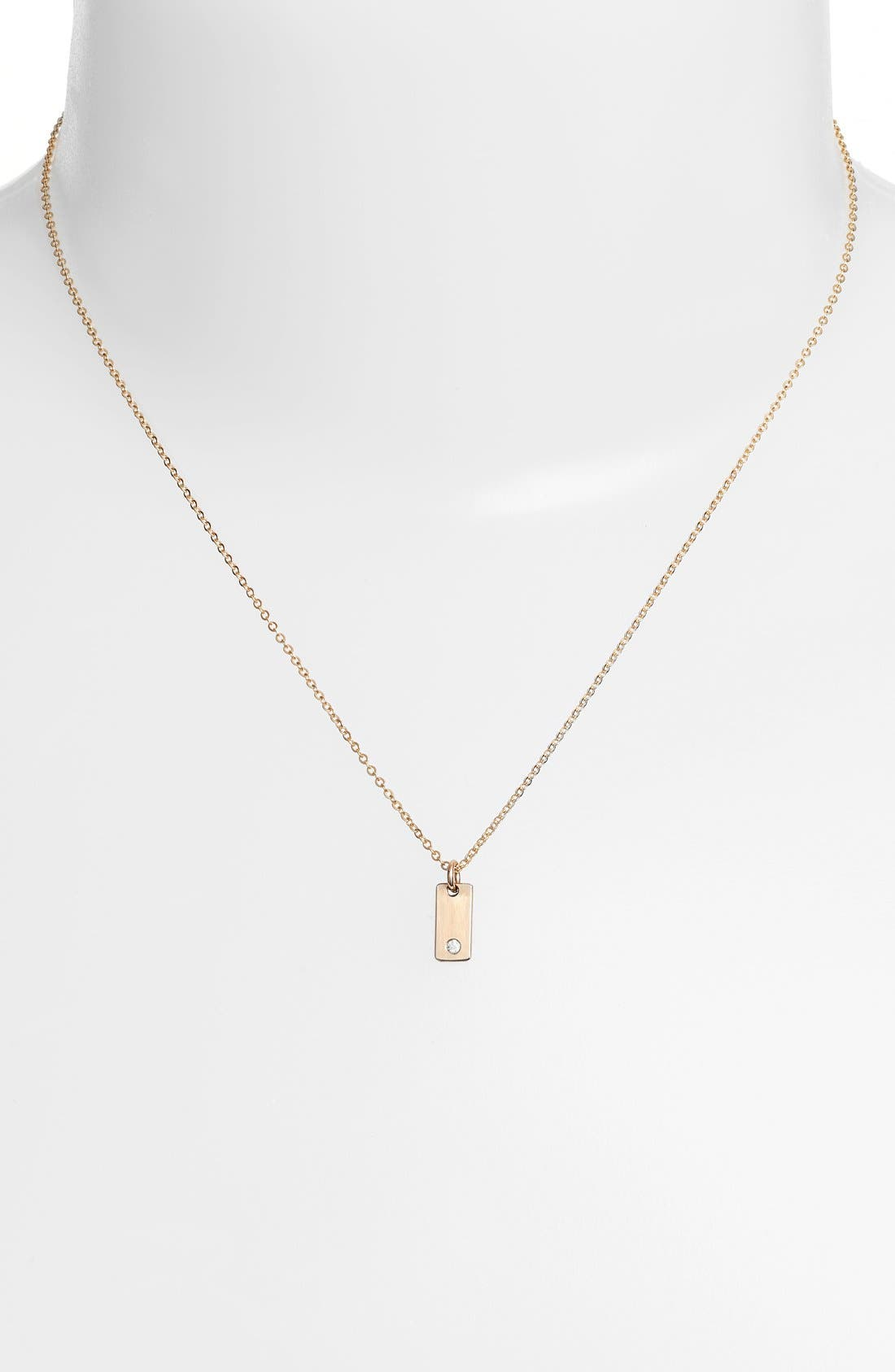 Diamond Bar Pendant Necklace,                             Alternate thumbnail 2, color,                             Gold