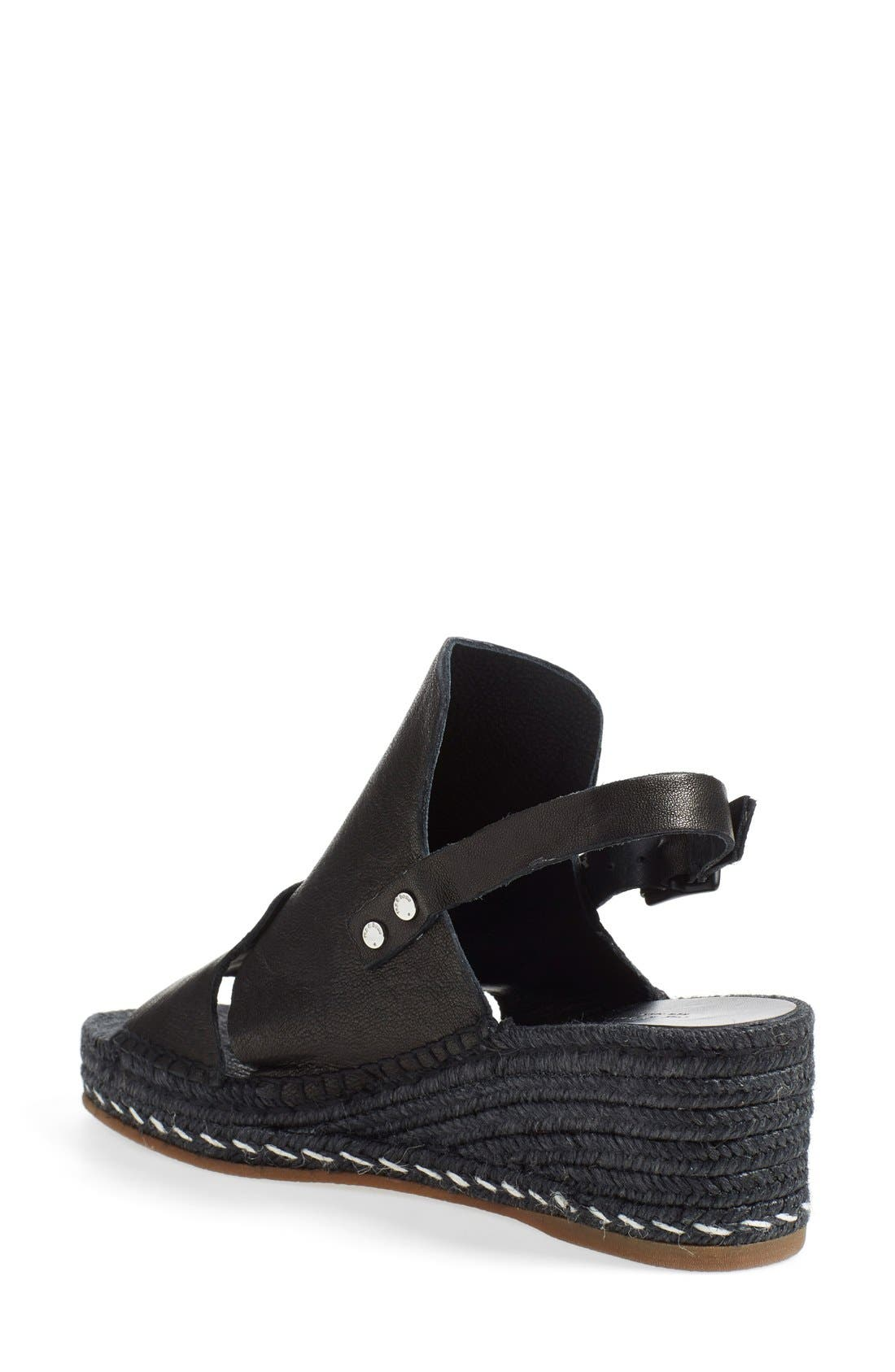 'Sayre II' Espadrille Wedge Sandal,                             Alternate thumbnail 2, color,                             Black
