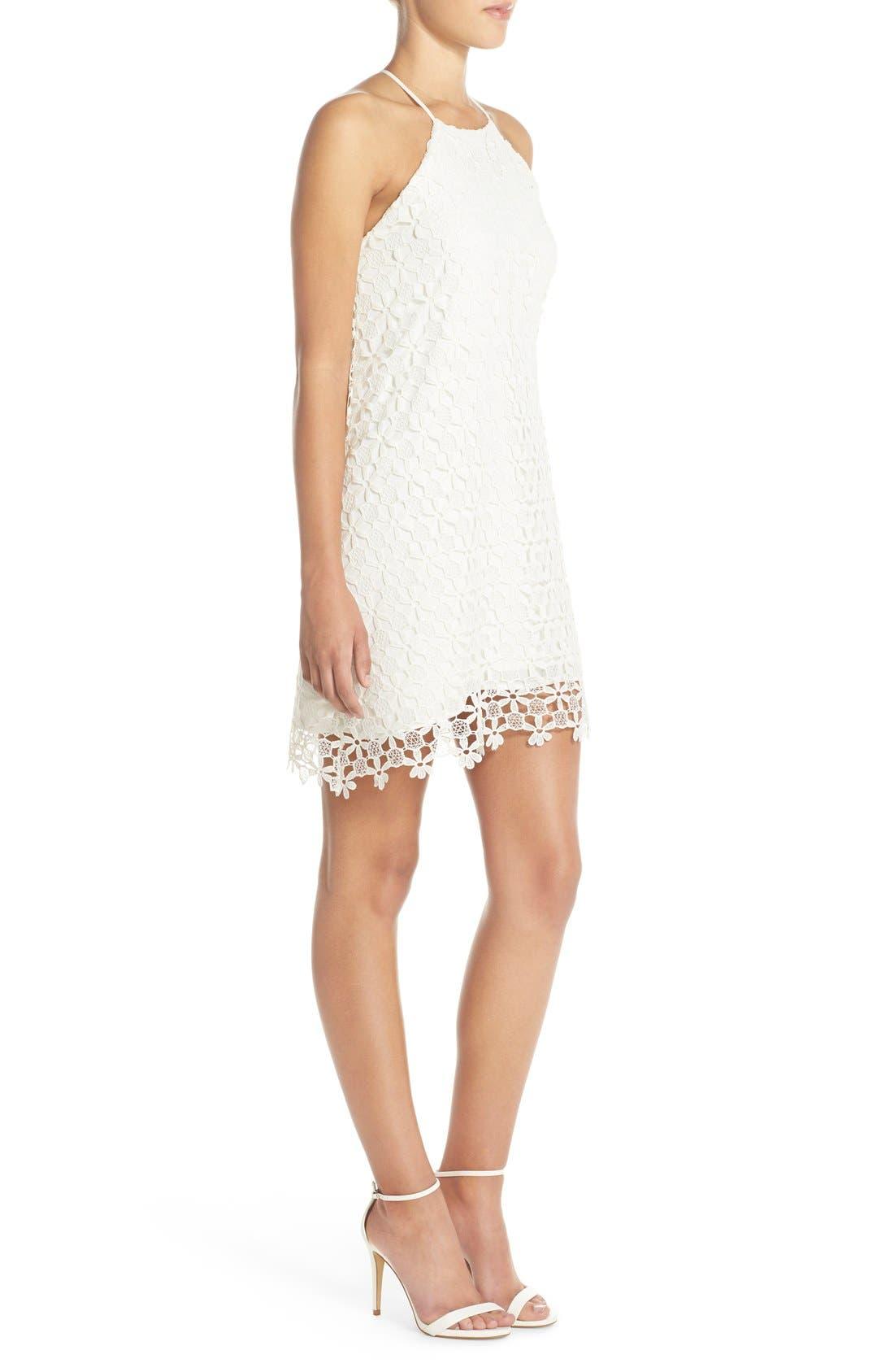 Floral Lace Trapeze Halter Dress,                             Alternate thumbnail 3, color,                             White Snow