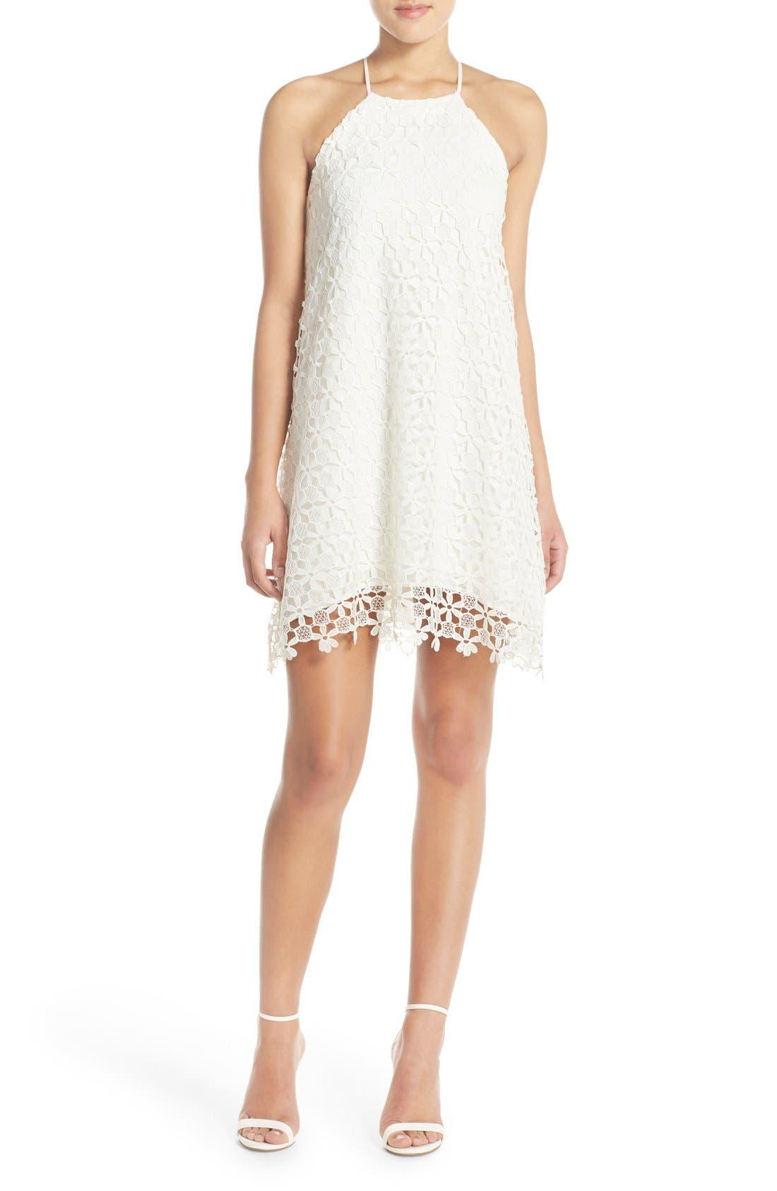 Floral Lace Trapeze Halter Dress,                             Alternate thumbnail 4, color,                             White Snow