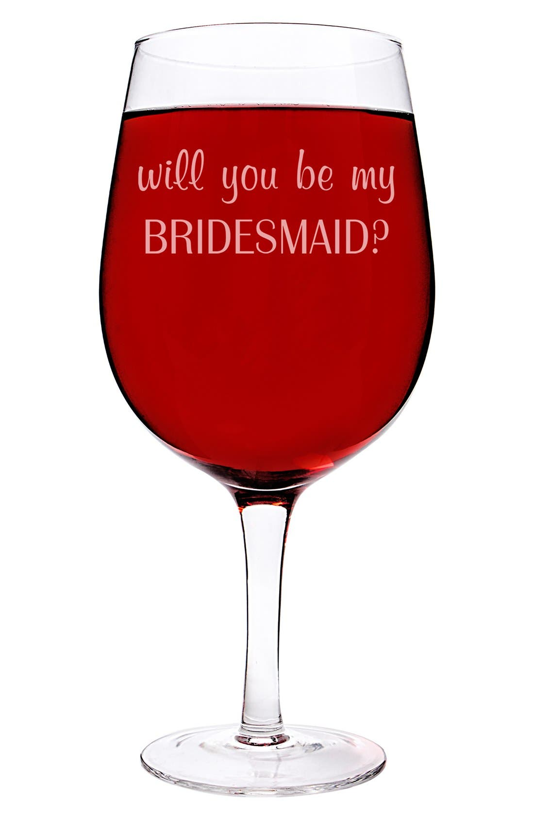 Extra Large Novelty Wine Glass,                             Alternate thumbnail 3, color,                             Bridesmaid