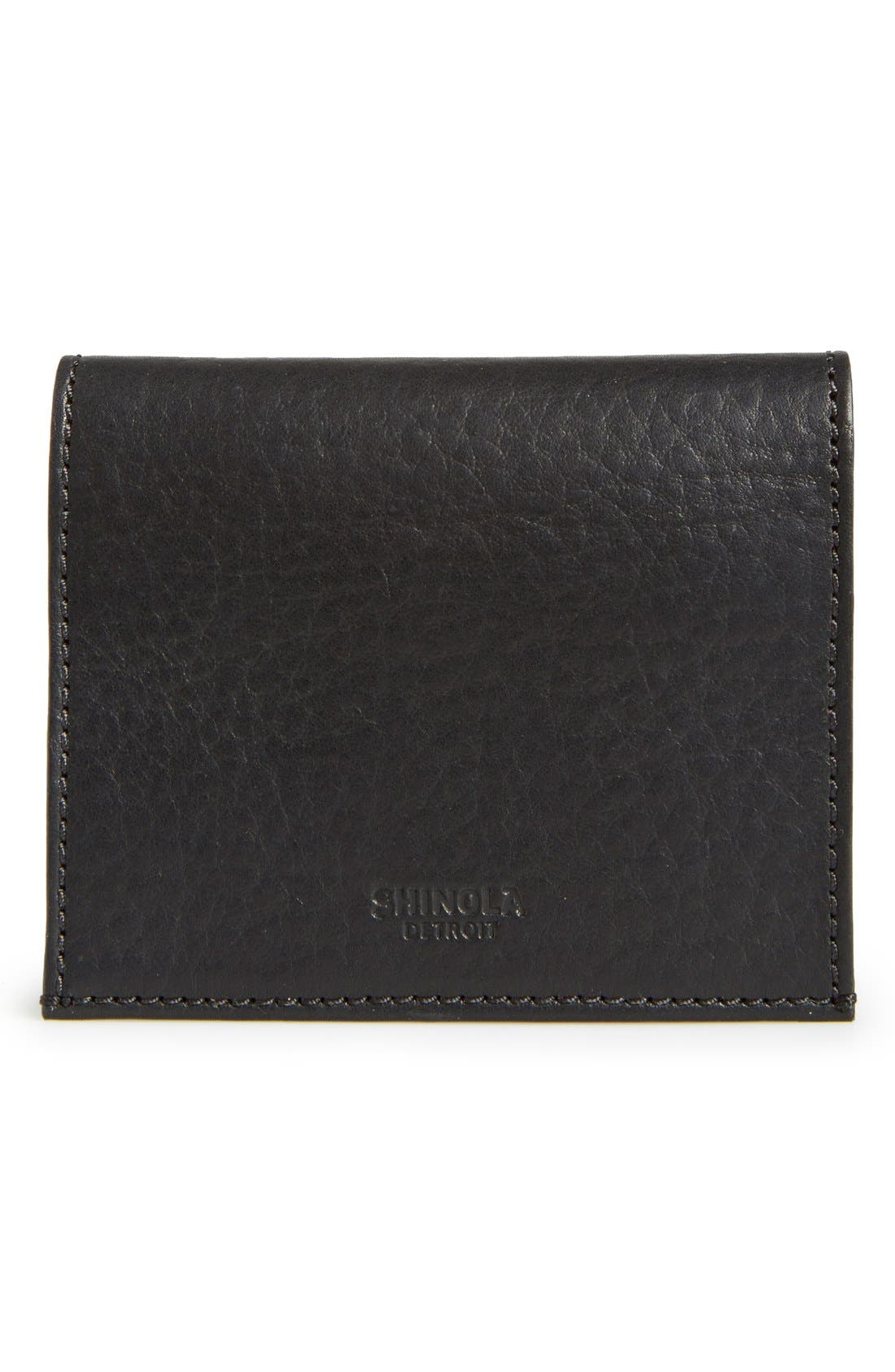 Gusset Leather Card Case,                         Main,                         color, Black