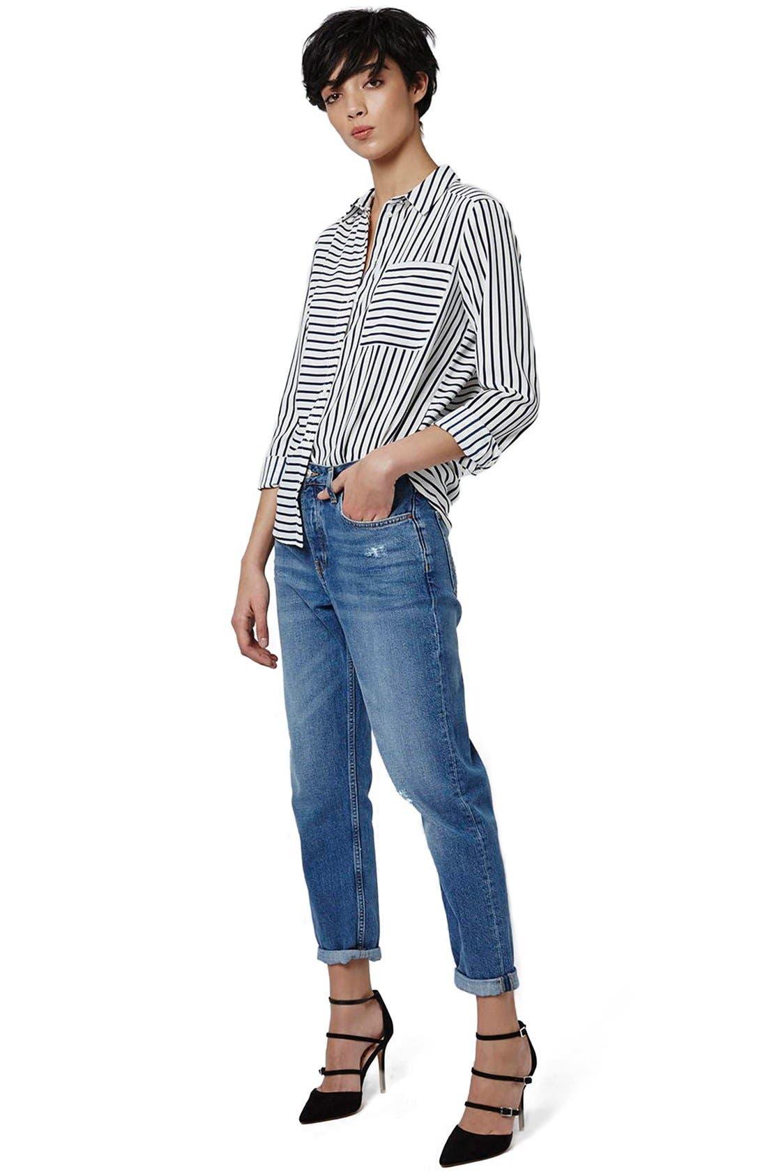 Alternate Image 2  - Topshop 'Olivia' Paneled Stripe Shirt