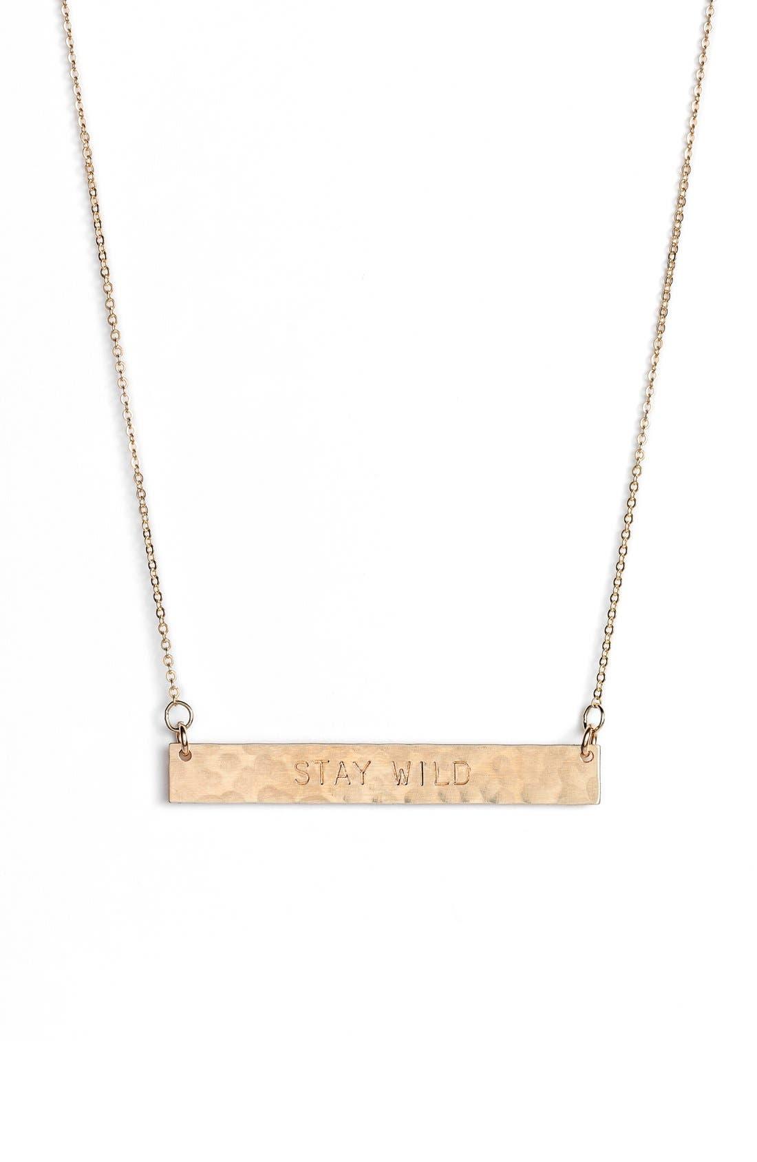 NASHELLE 14k-Gold Fill Stamped Bar Pendant Necklace