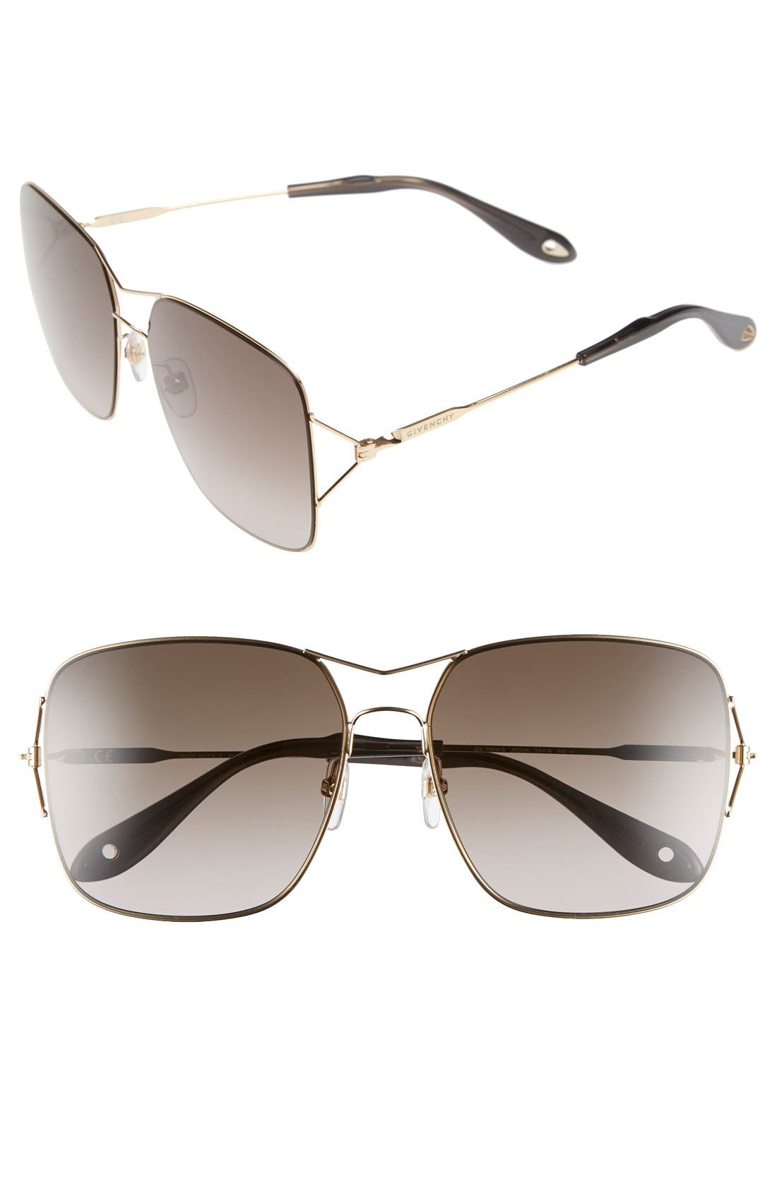GIVENCHY METAL DOUBLE-WIRE SQUARE SUNGLASSES, COPPER/GRN