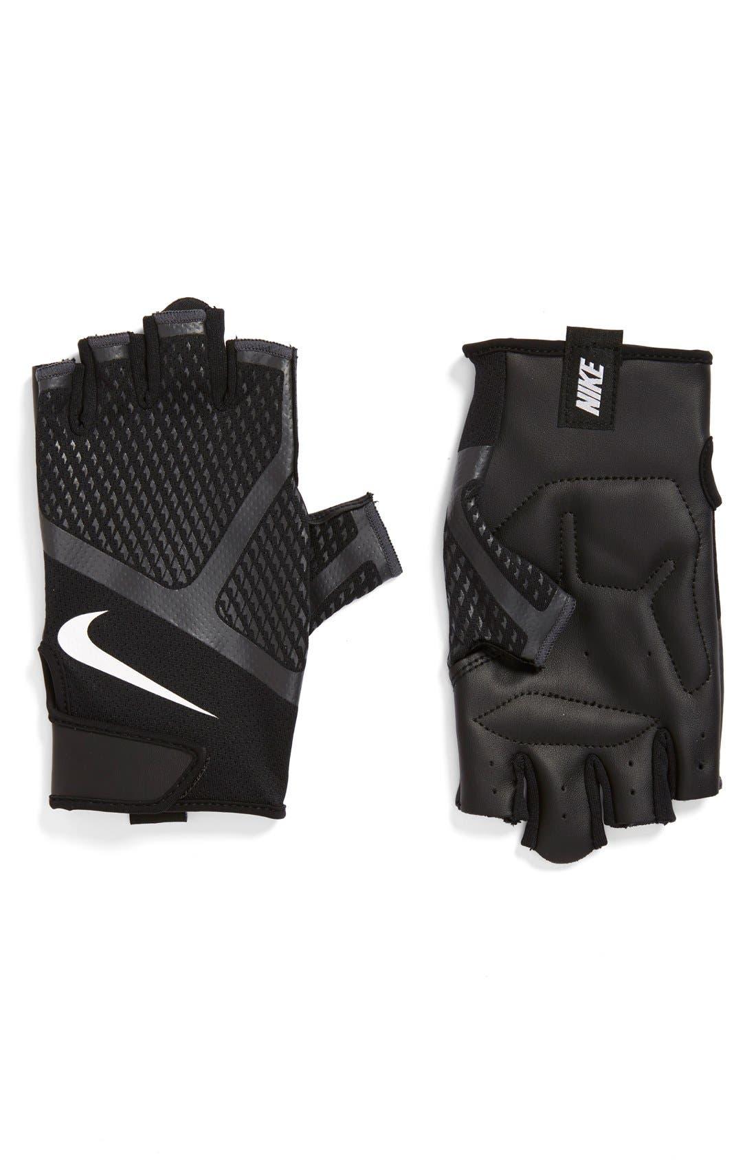 'Renegade' Fingerless Padded Training Gloves,                             Main thumbnail 1, color,                             Black/ White
