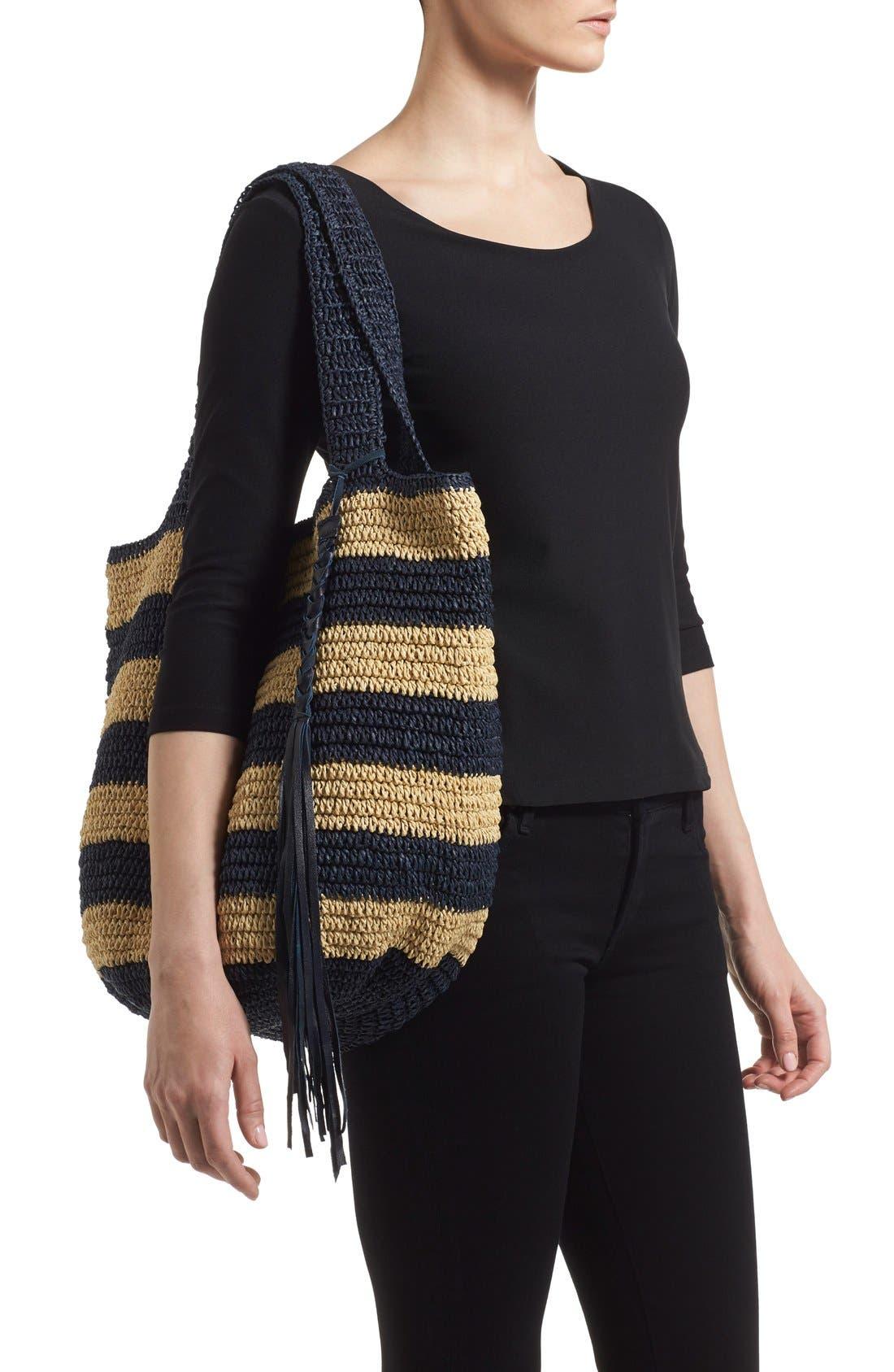 Alternate Image 2  - Caslon® Stripe Crochet Straw Shoulder Bag