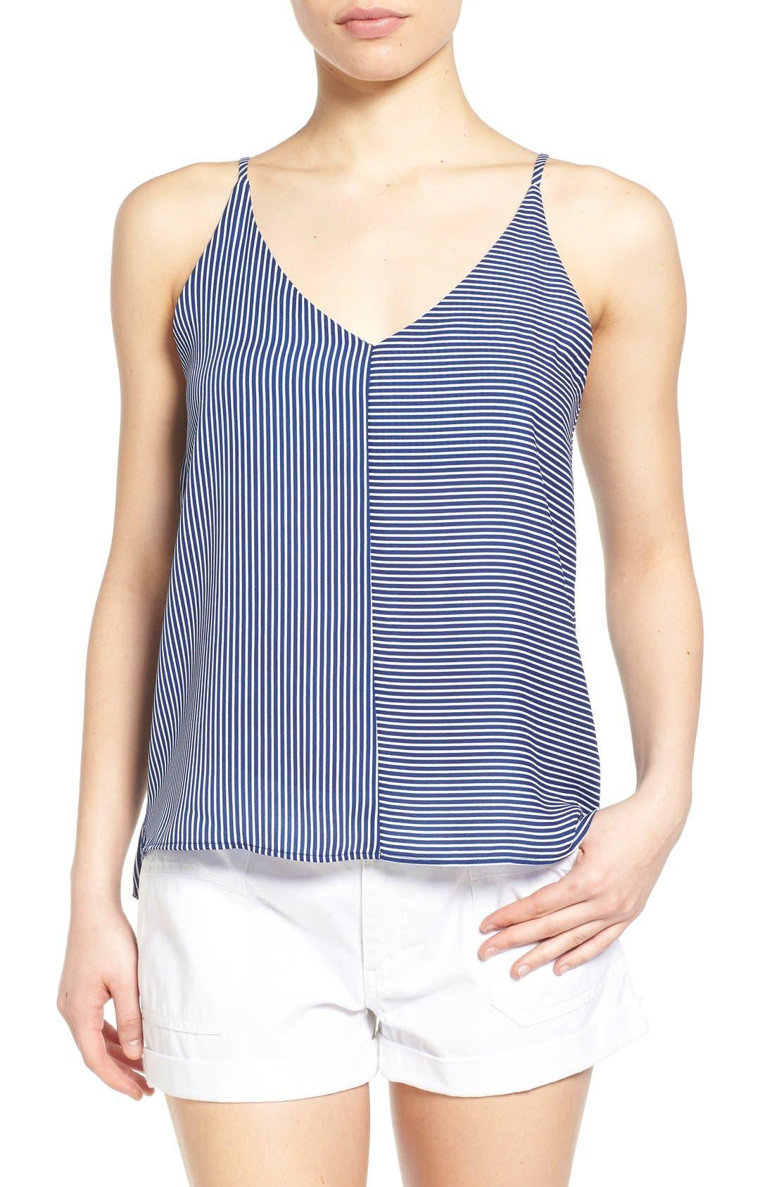 Stripe Woven Camisole,                             Main thumbnail 1, color,                             Navy Evening Callington Stripe