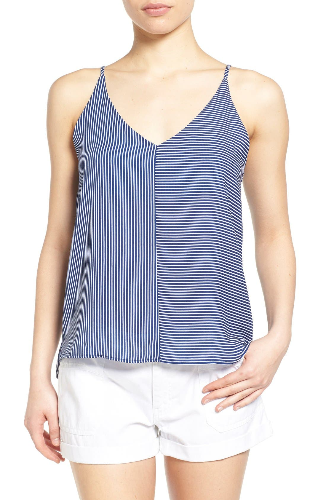 Stripe Woven Camisole,                         Main,                         color, Navy Evening Callington Stripe