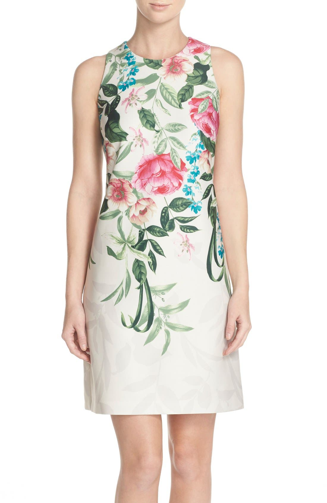 Placed Floral Print Stretch A-Line Dress,                         Main,                         color, Green Multi