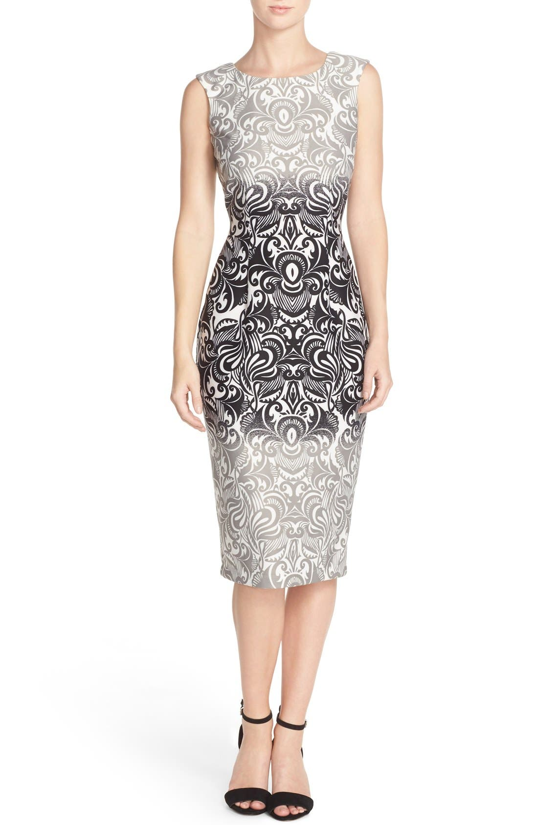 Alternate Image 1 Selected - Gabby Skye Print Scuba Sheath Dress