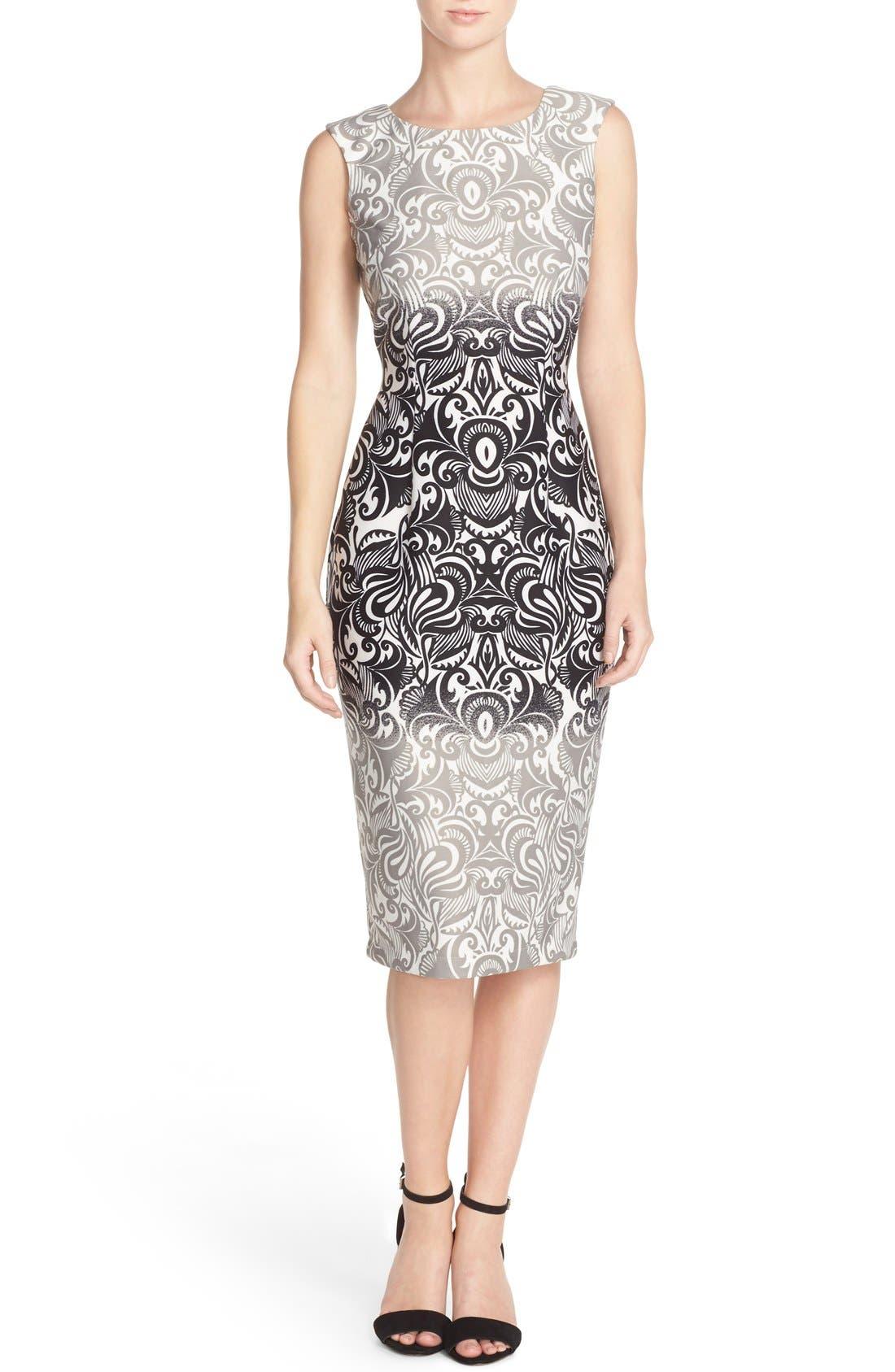 Main Image - Gabby Skye Print Scuba Sheath Dress