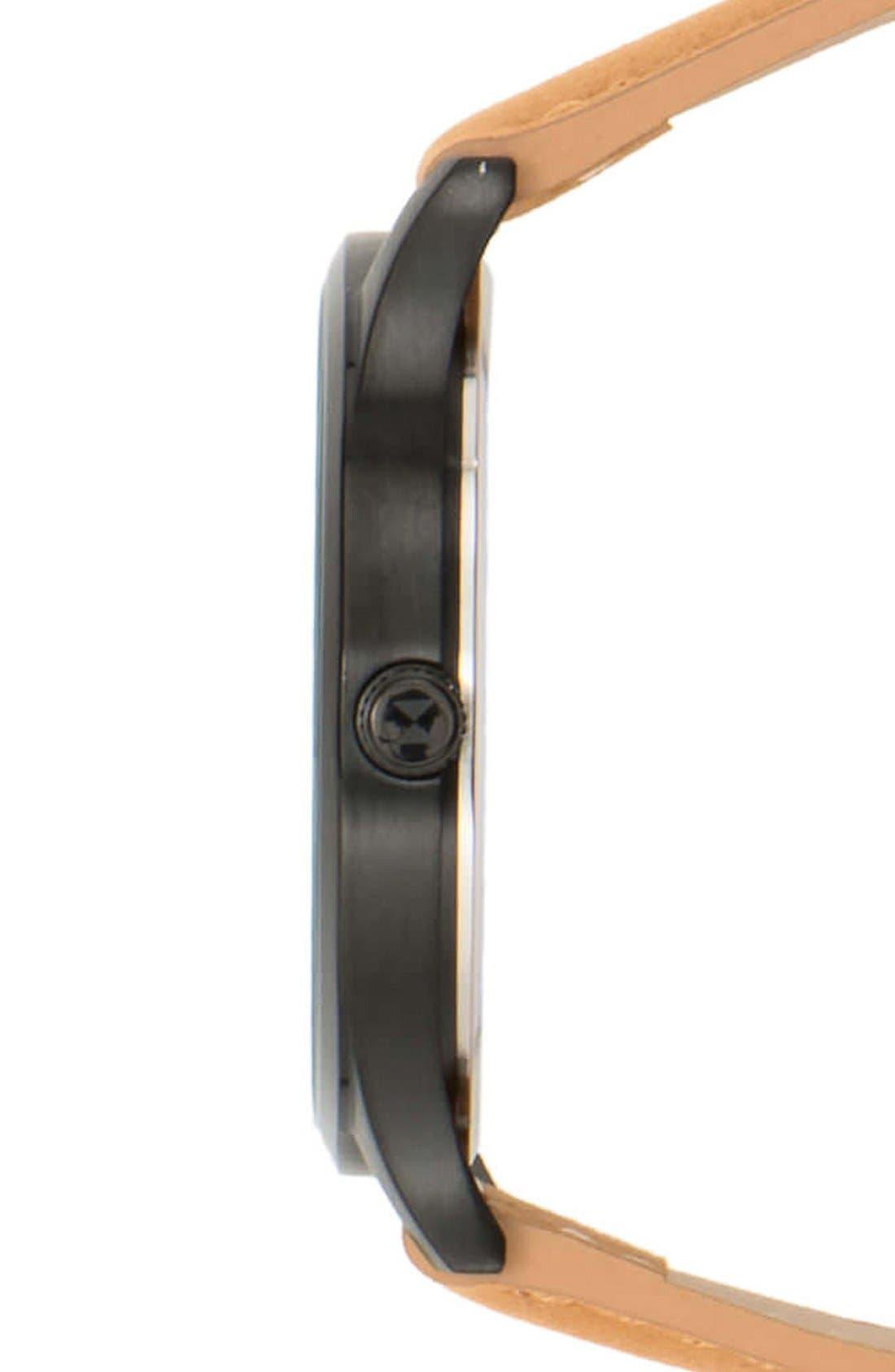 Leather Strap Watch, 40mm,                             Alternate thumbnail 3, color,                             Tan/ Black