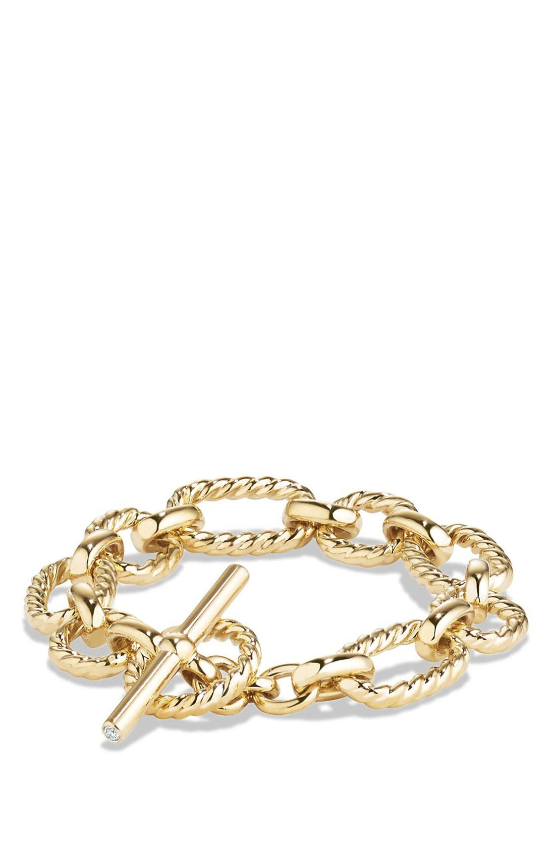 'Chain' Cushion Link Bracelet with Diamonds in 18K Gold,                         Main,                         color, Gold