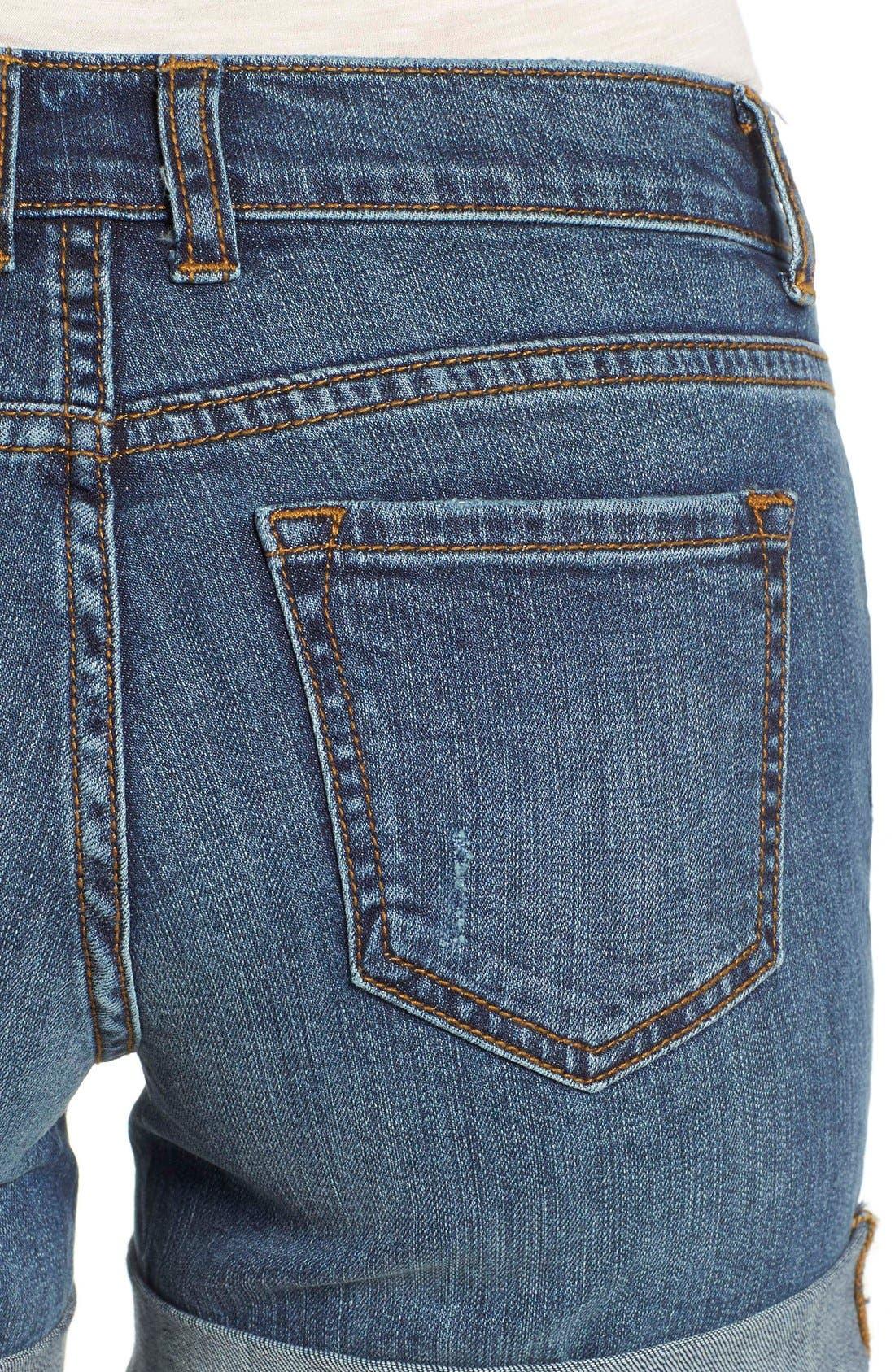 Rolled Denim Boyfriend Shorts,                             Alternate thumbnail 5, color,                             Medium Destruct