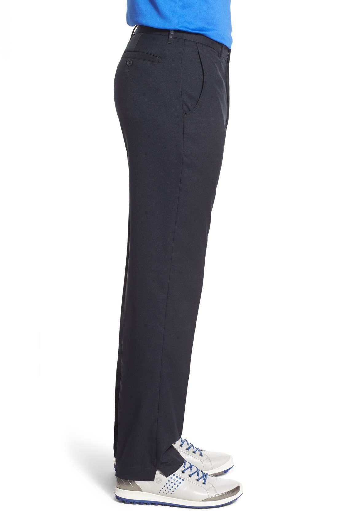 'Tech' Flat Front Wrinkle Free Golf Pants,                             Alternate thumbnail 4, color,                             Black