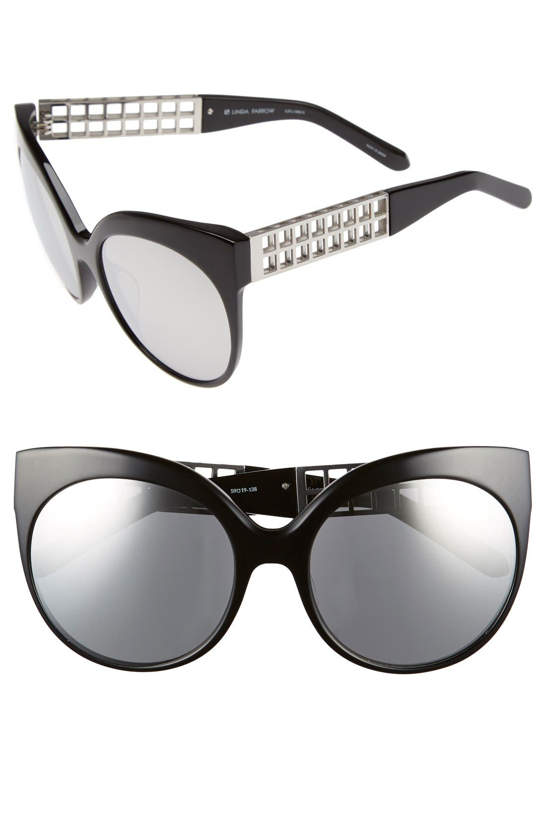 Alternate Image 1 Selected - Linda Farrow 59mm Cat Eye 18 Karat White Gold Trim Sunglasses
