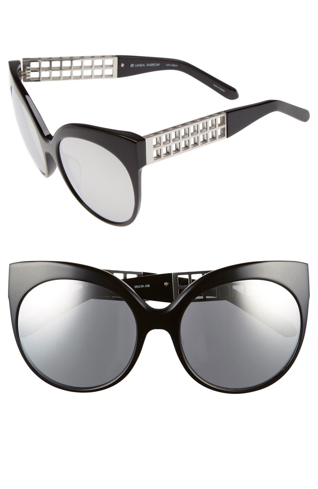 Main Image - Linda Farrow 59mm Cat Eye 18 Karat White Gold Trim Sunglasses