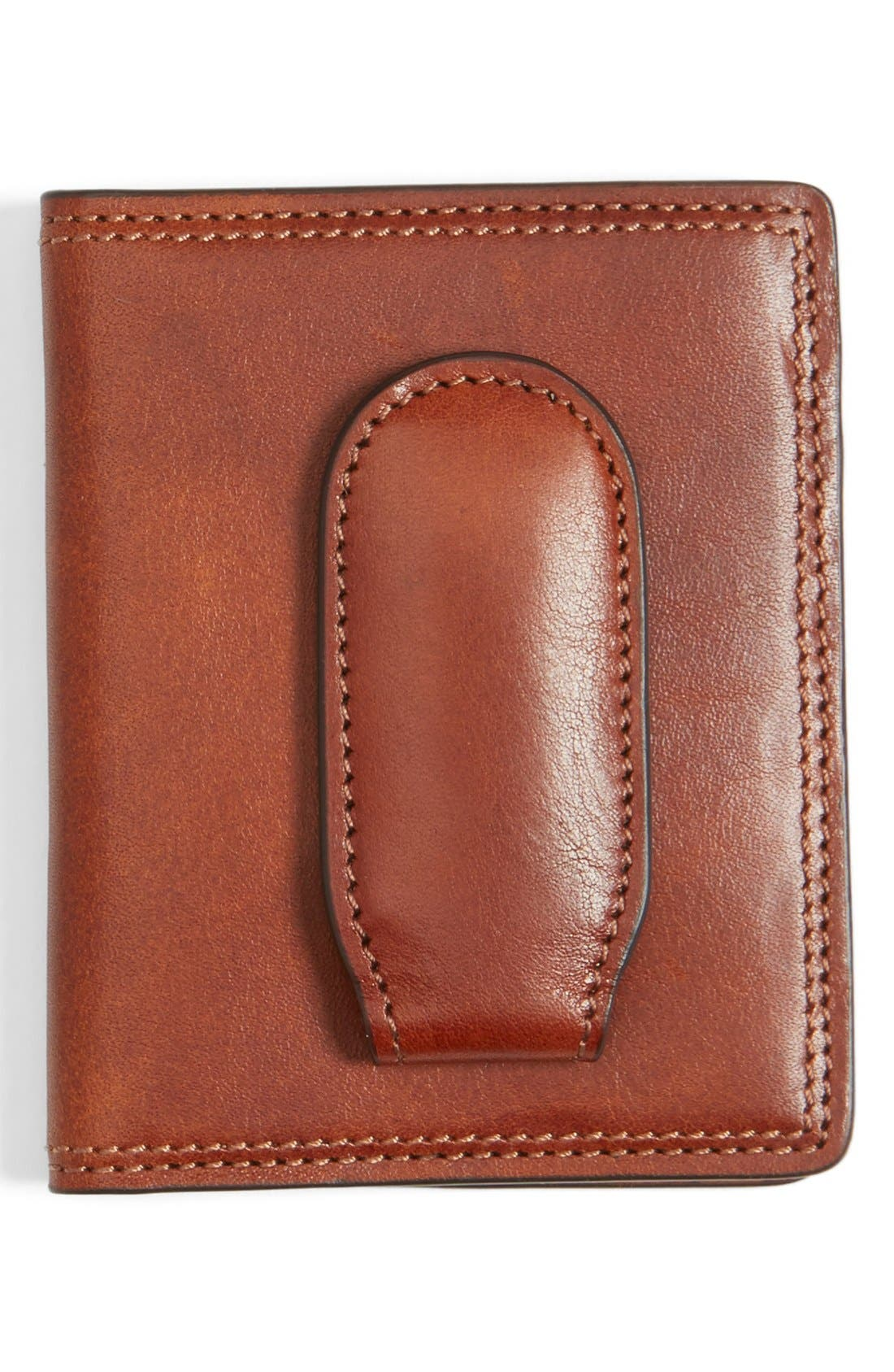 Leather Front Pocket Money Clip Wallet,                             Main thumbnail 1, color,                             Amber