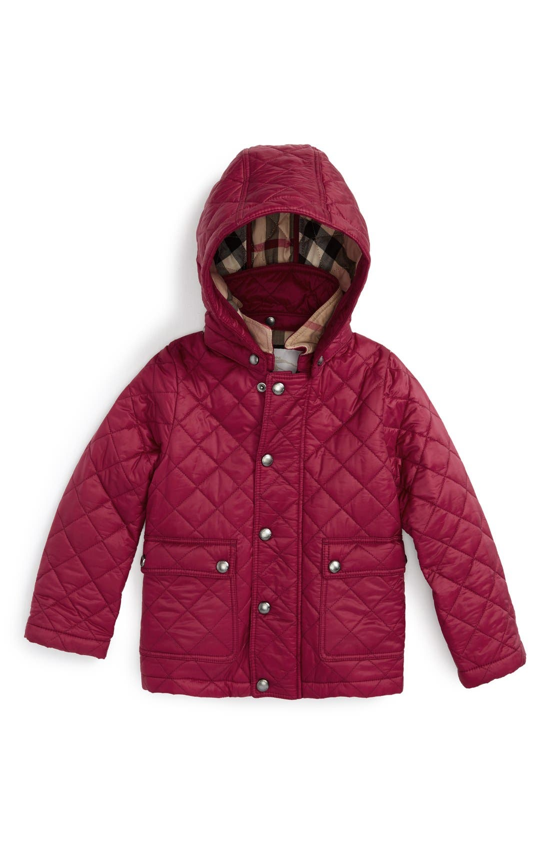 Burberry 'Jamie' Quilted Hooded Puffer Jacket (Toddler Girls)