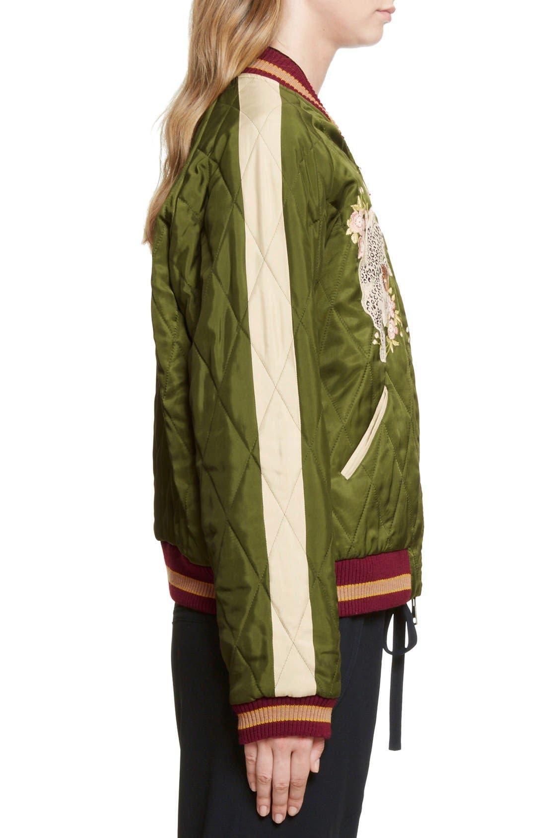 Reversible Embroidered Tech Satin Bomber Jacket,                             Alternate thumbnail 5, color,                             Deep Green