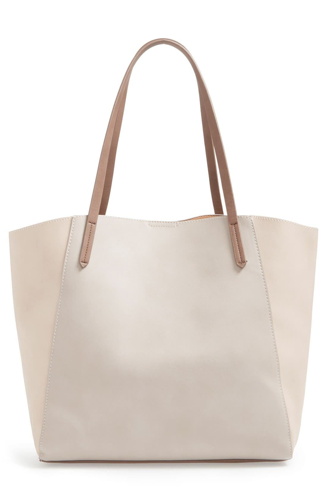 Colorblock Faux Leather Tote,                             Alternate thumbnail 3, color,                             Tan