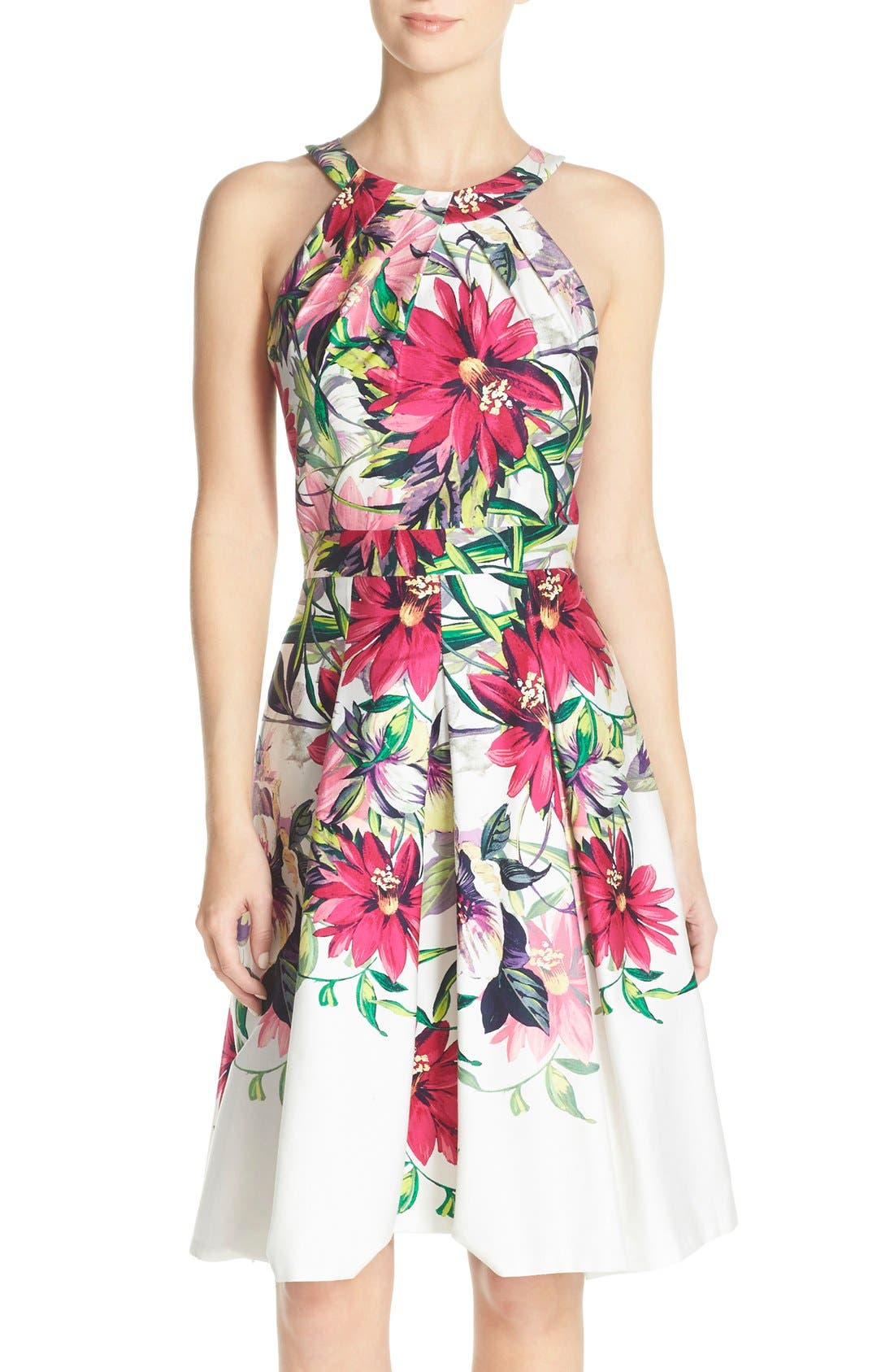 Floral Print Tea Length Fit & Flare Dress,                             Main thumbnail 1, color,                             Ivory/ Pink Print