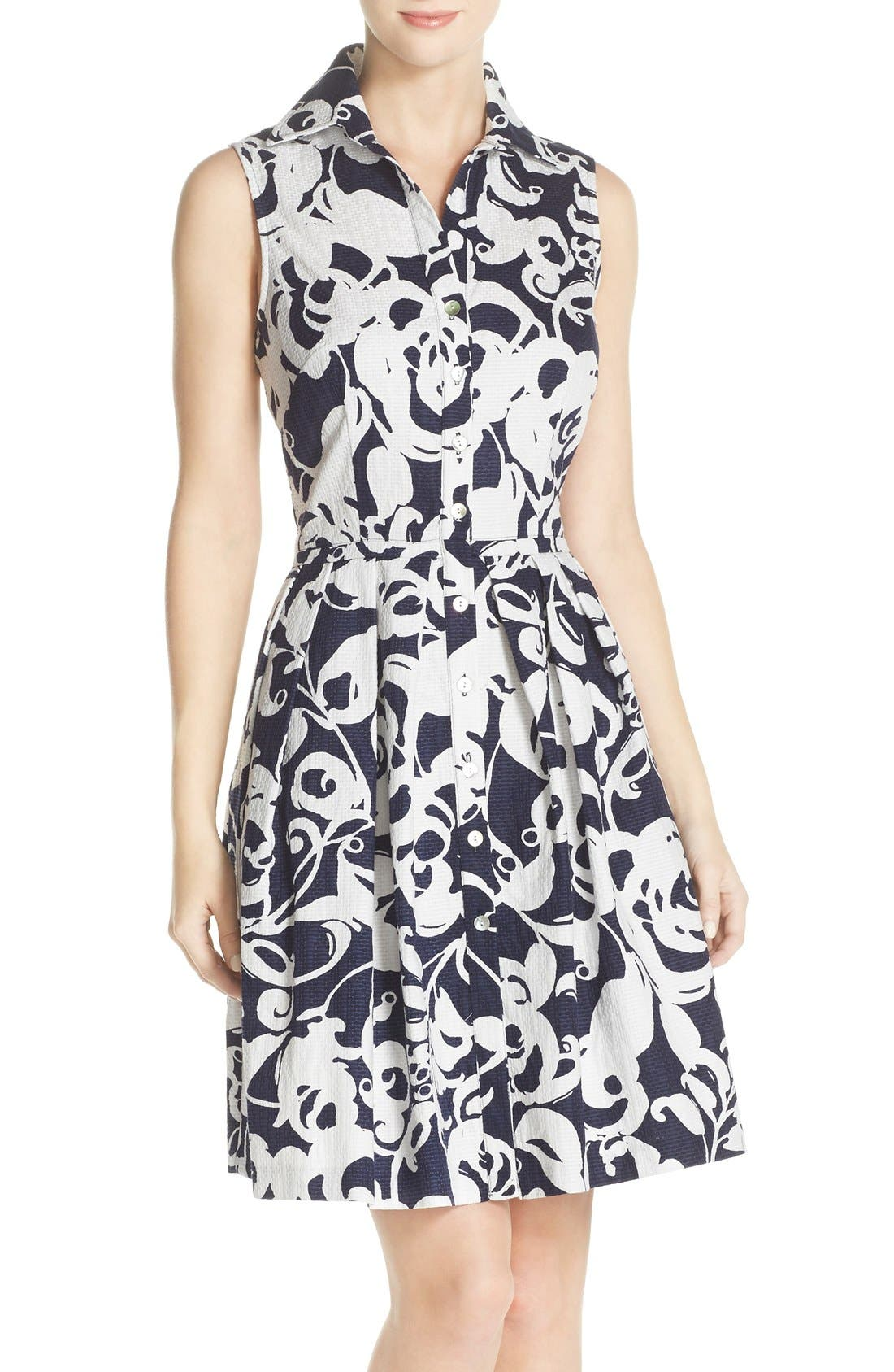 Alternate Image 1 Selected - Taylor Dresses Print Jacquard Fit & Flare Shirtdress
