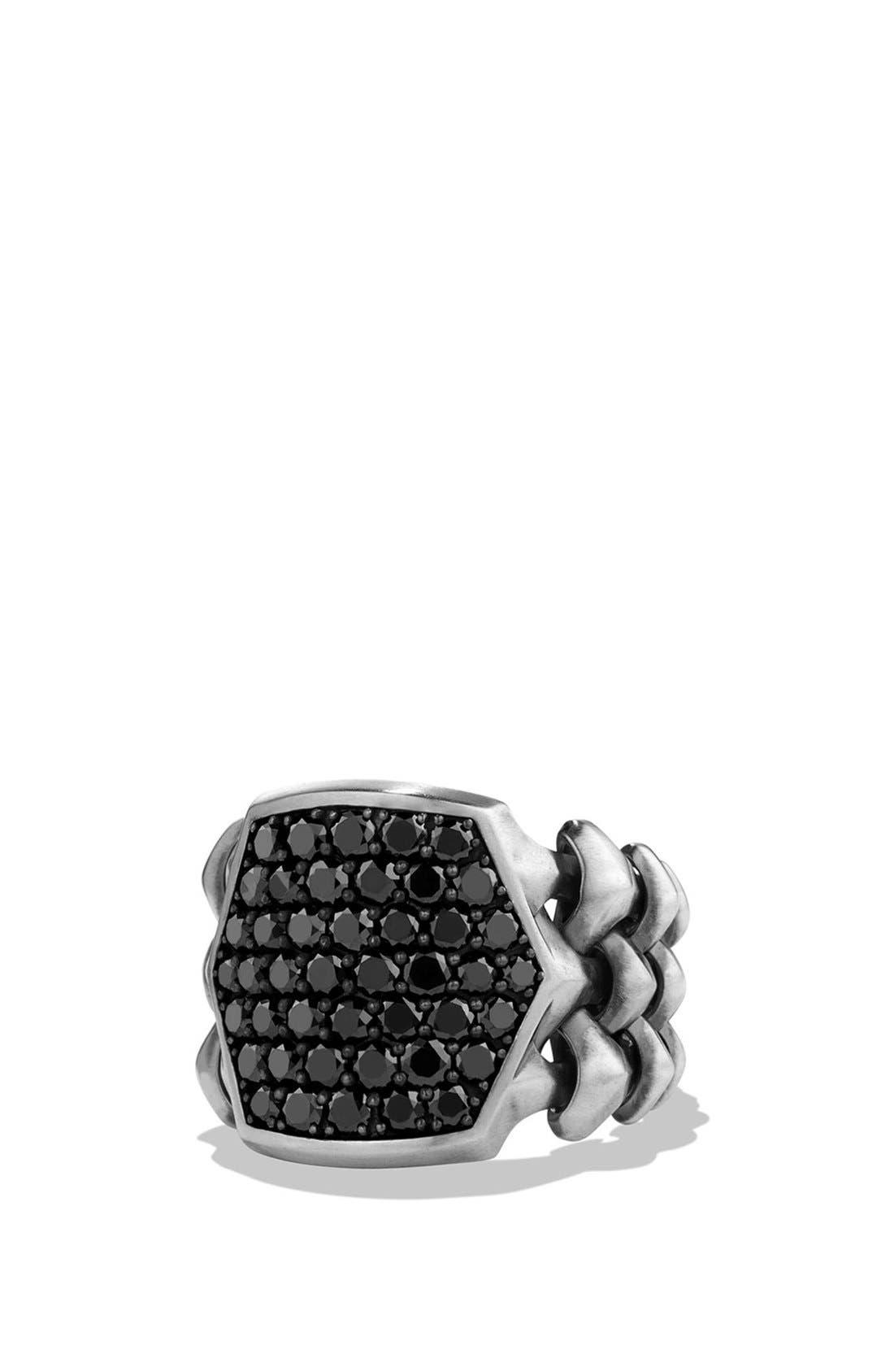 David Yurman 'Armory' Signet Ring with Black Diamonds