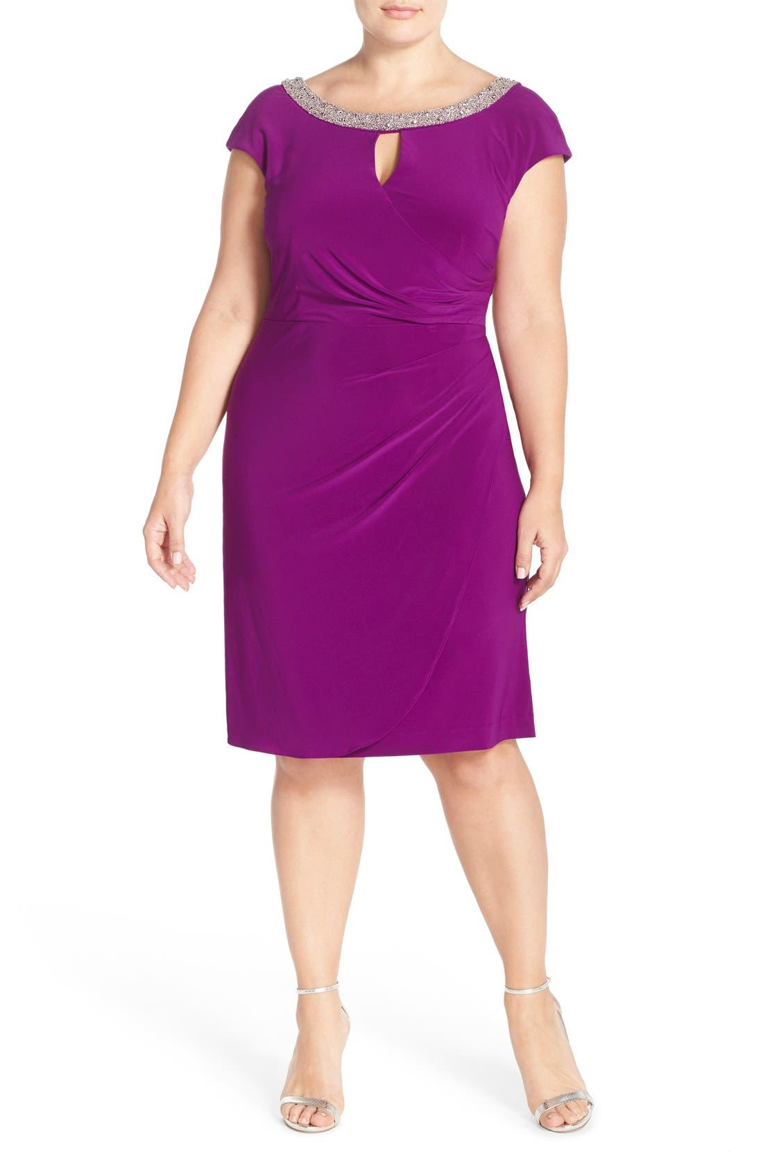 Alternate Image 1 Selected - Alex Evenings Beaded Matte Jersey Sheath Dress (Plus Size)