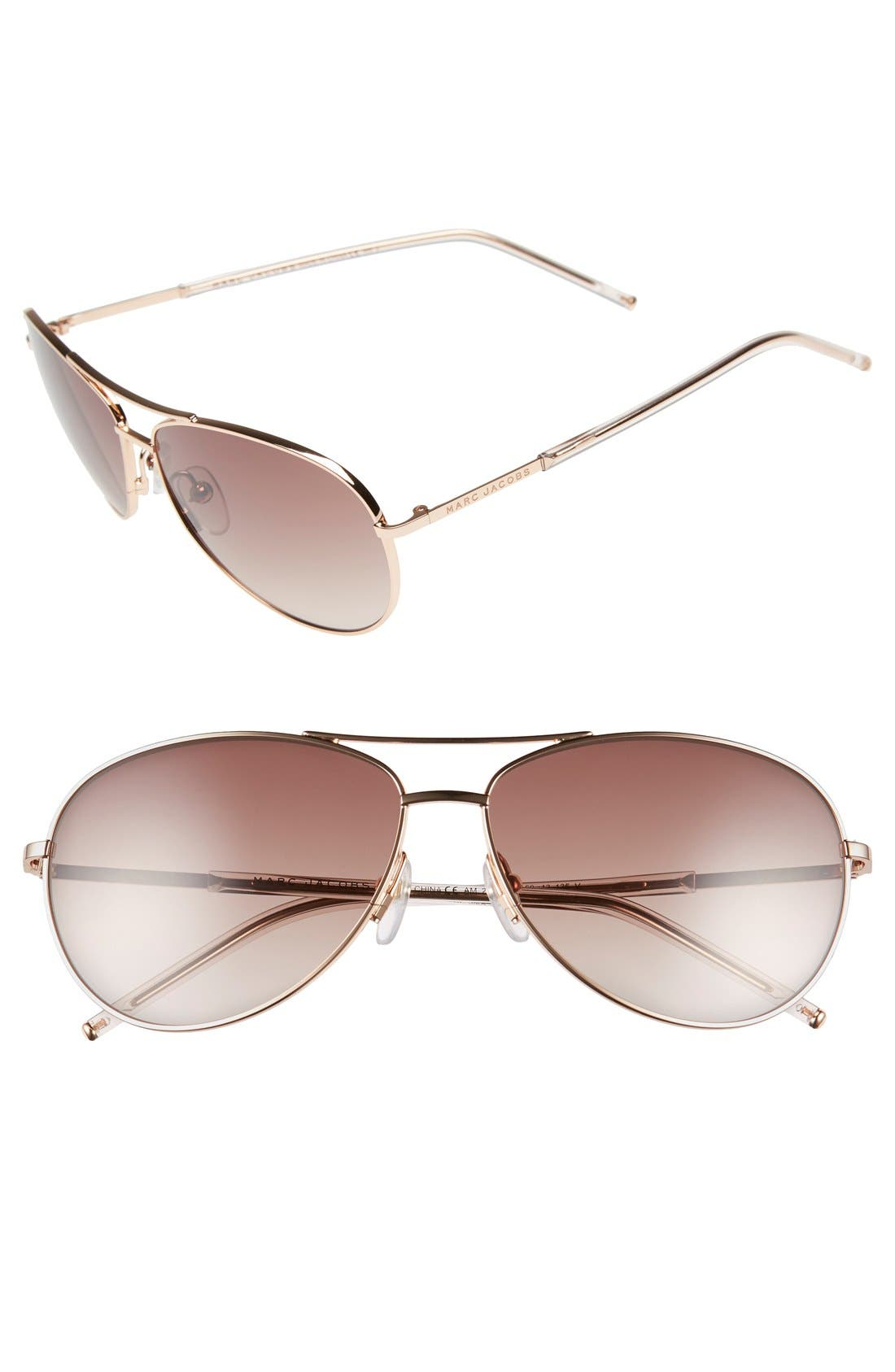59mm Aviator Sunglasses,                         Main,                         color, Gold Copper