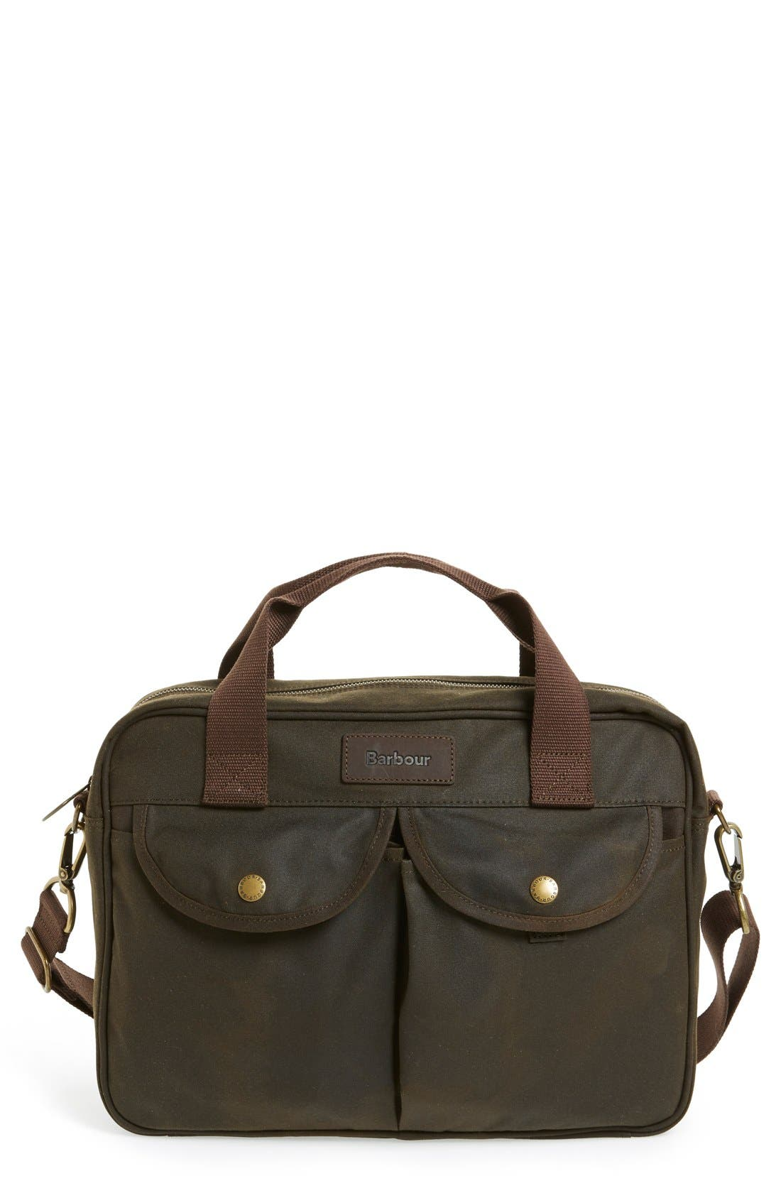 'Longthorpe' Waxed Canvas Laptop Bag,                             Main thumbnail 1, color,                             Olive