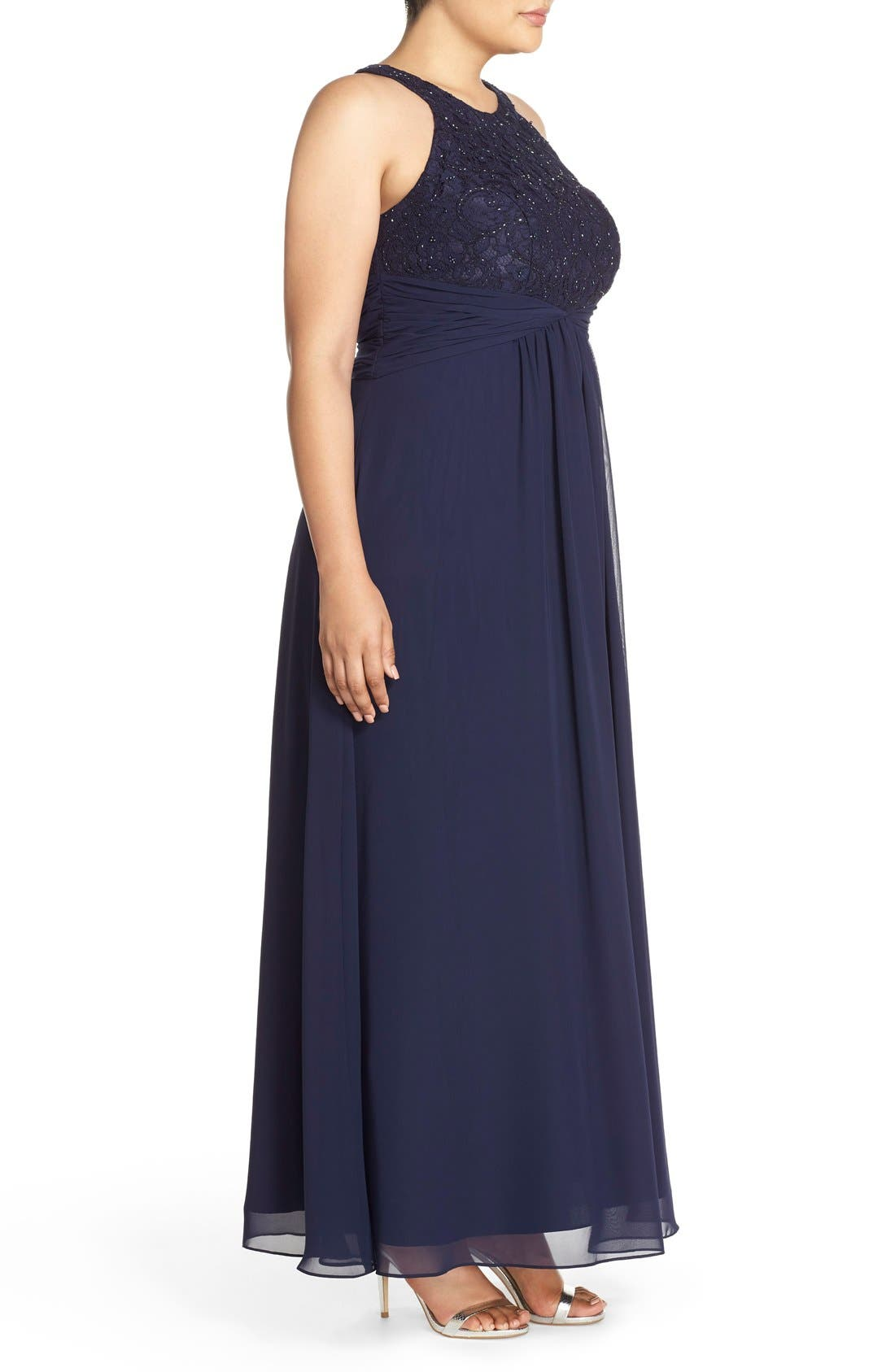 Halter Style Lace & Chiffon Gown,                             Alternate thumbnail 3, color,                             Navy