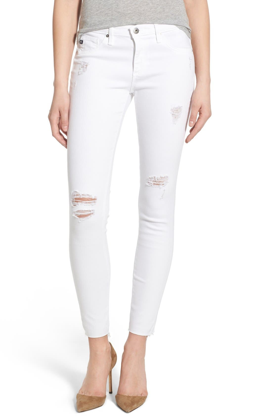 'The Legging' Cutoff Ankle Skinny Jeans,                         Main,                         color, Worn White