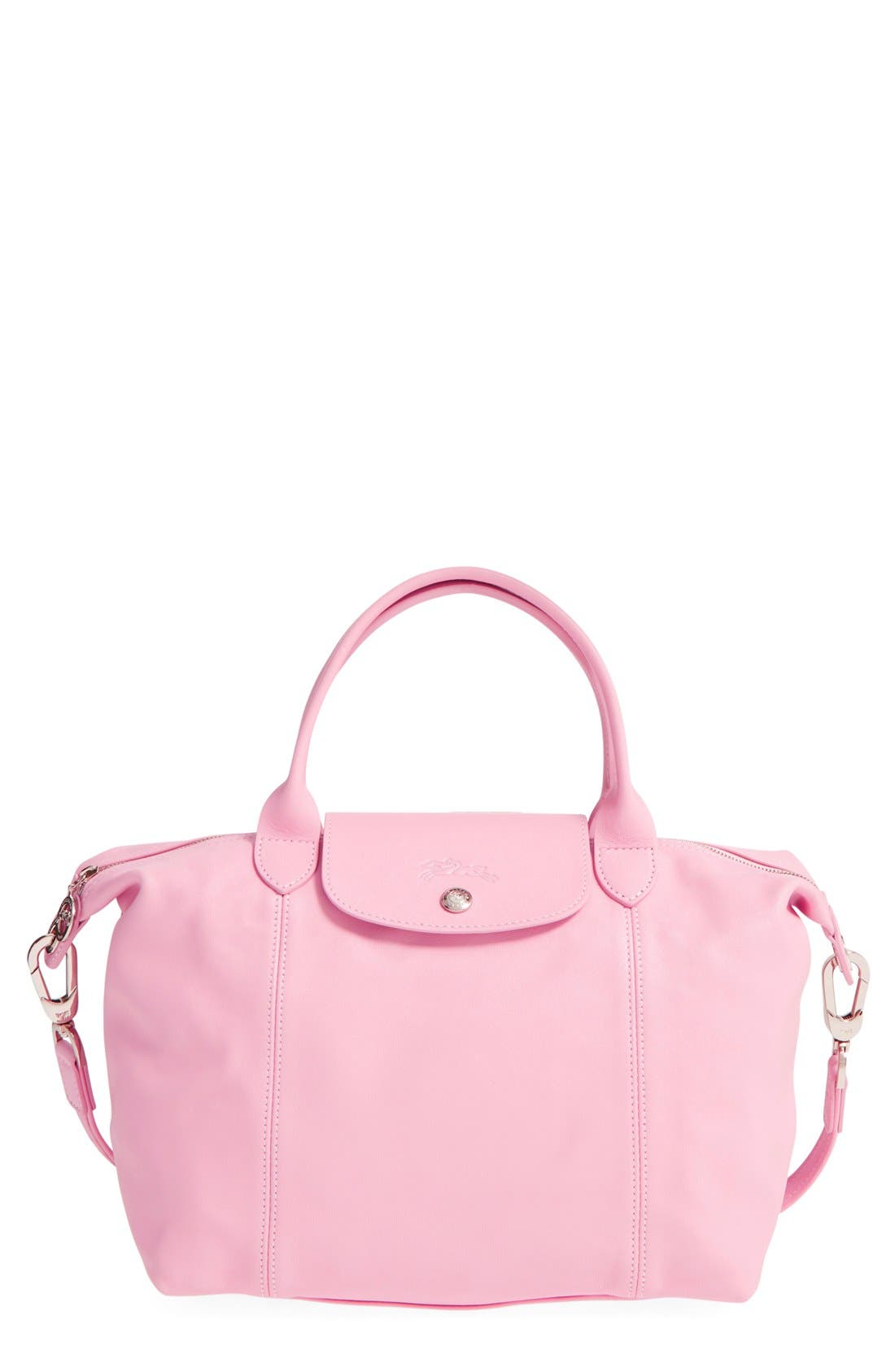 Small 'Le Pliage Cuir' Leather Top Handle Tote,                             Main thumbnail 1, color,                             Girl