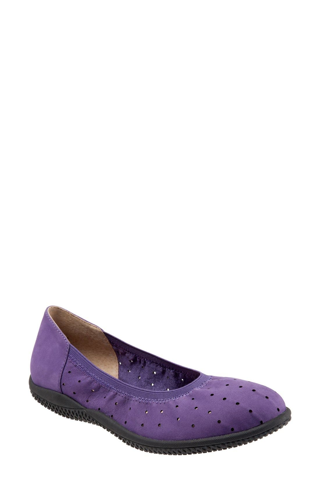 SoftWalk® 'Hampshire' Dot Perforated Ballet Flat (Women)