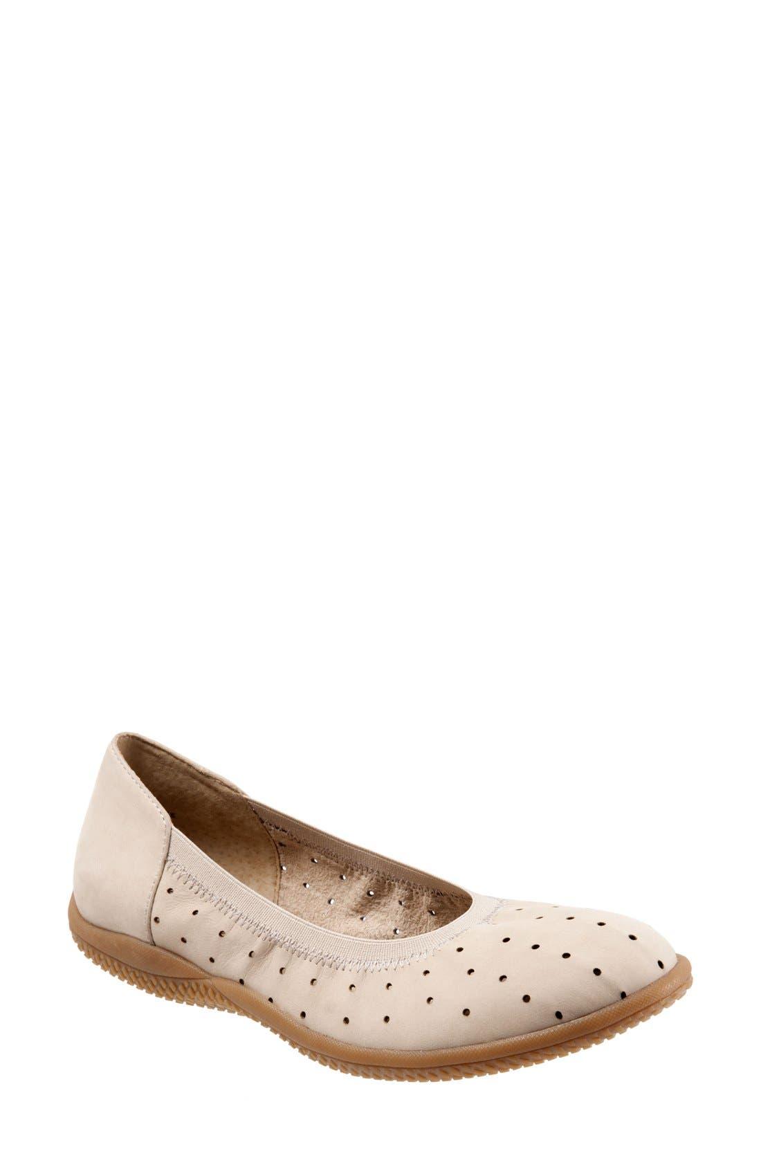 SoftWalk® 'Hampshire' Dot Perforated Ballet Flat (Women)