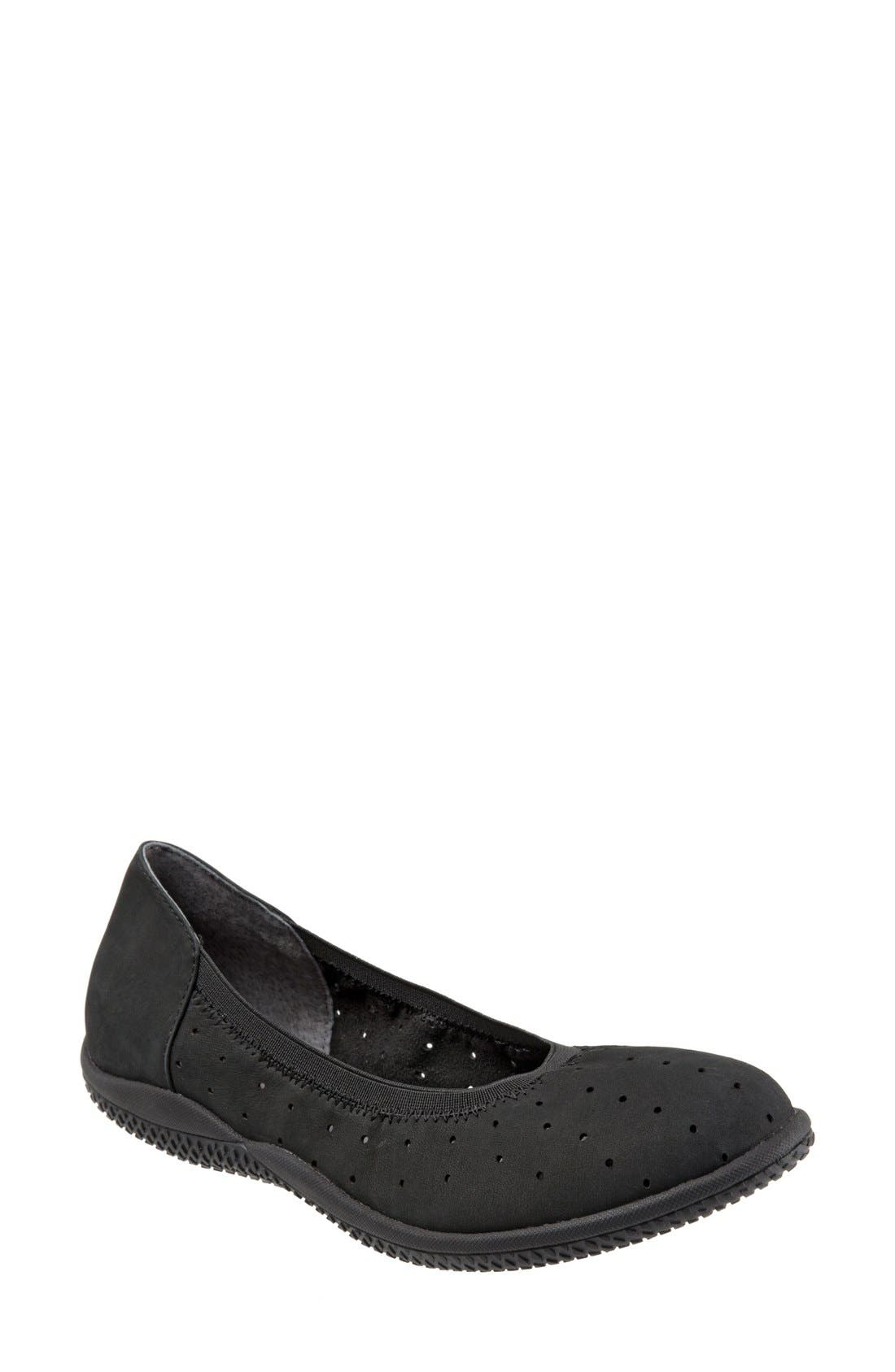 'Hampshire' Dot Perforated Ballet Flat,                             Main thumbnail 1, color,                             Black Nubuck