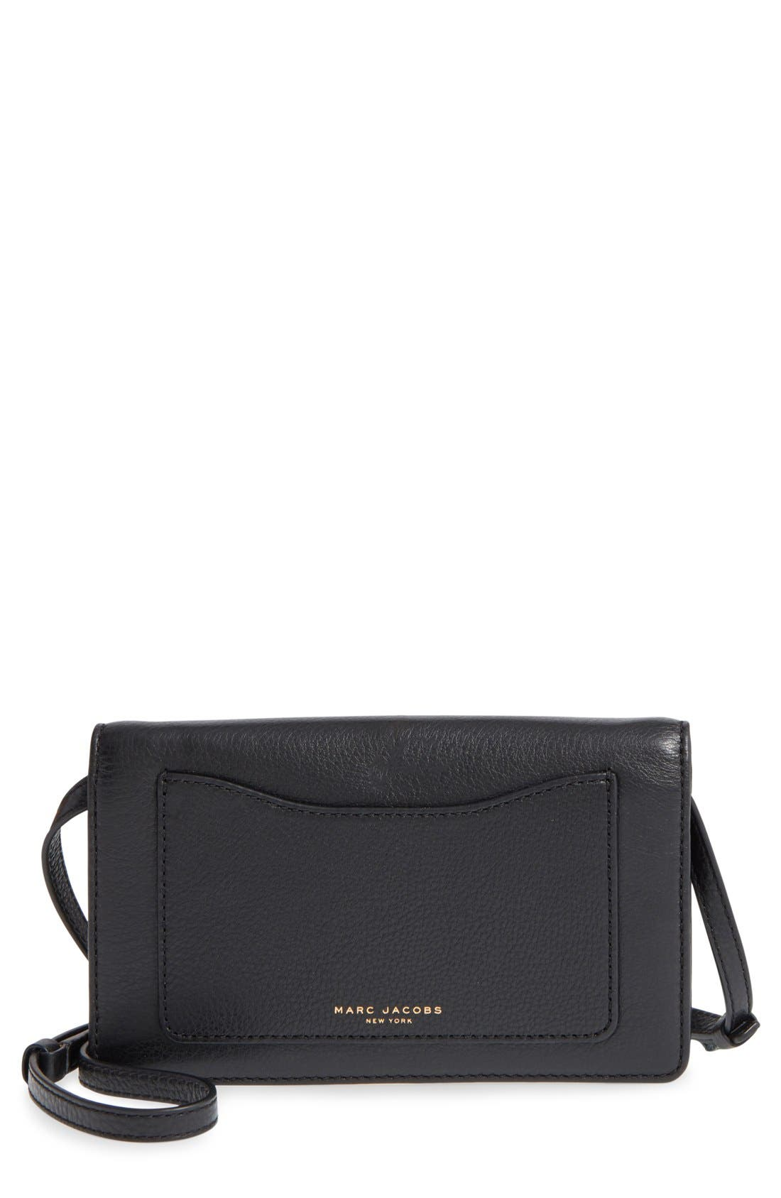 MARC JACOBS 'Recruit' Pebbled Leather Crossbody Wallet