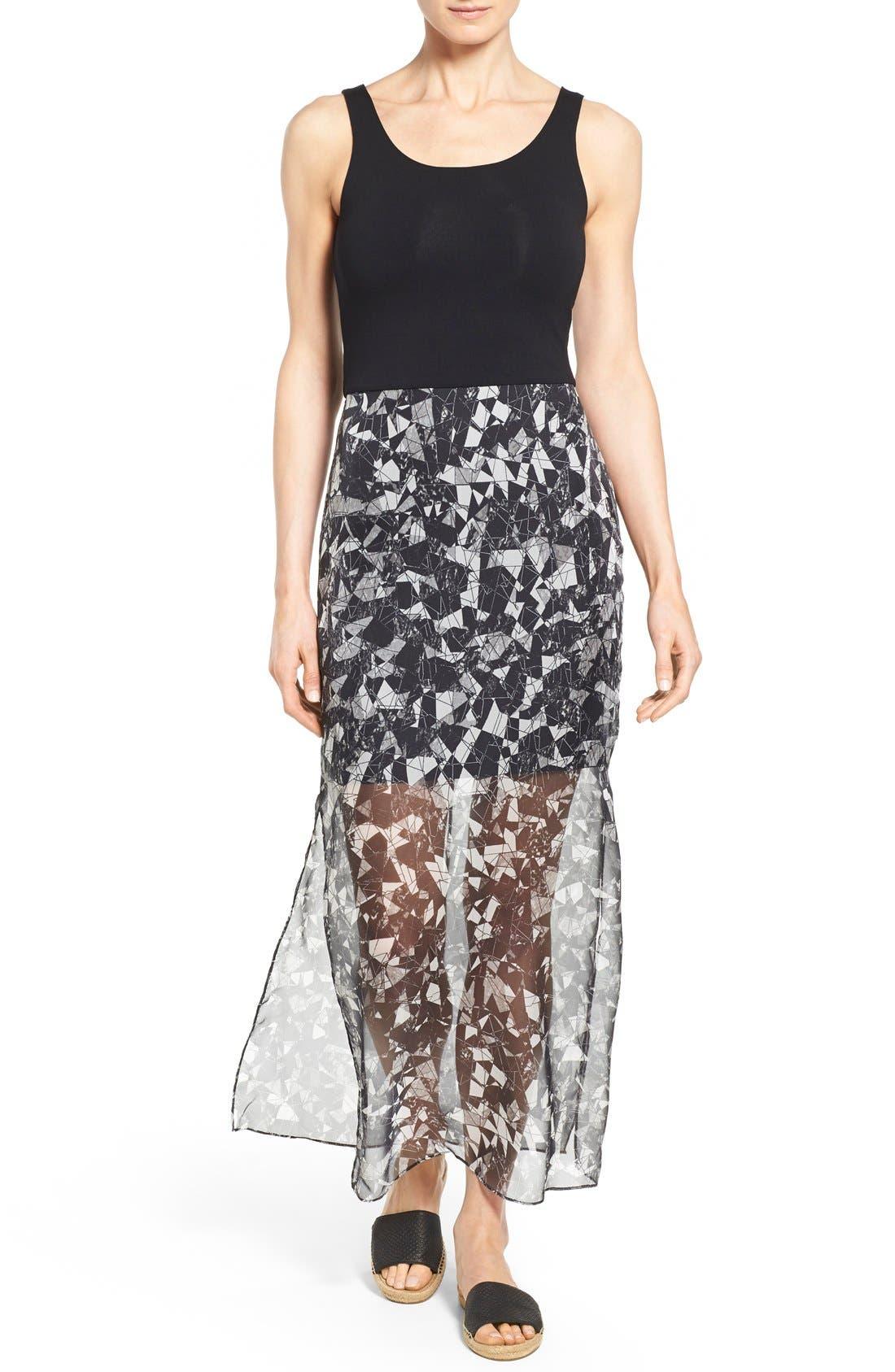 Print Chiffon Overlay Maxi Dress,                             Main thumbnail 1, color,                             Rich Black