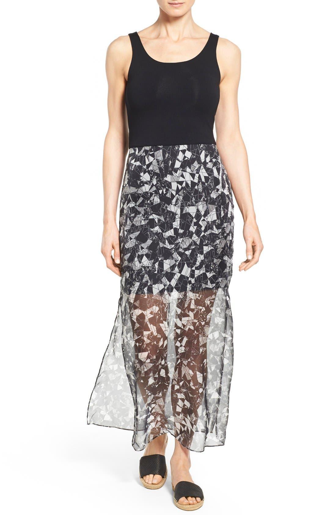 Print Chiffon Overlay Maxi Dress,                         Main,                         color, Rich Black