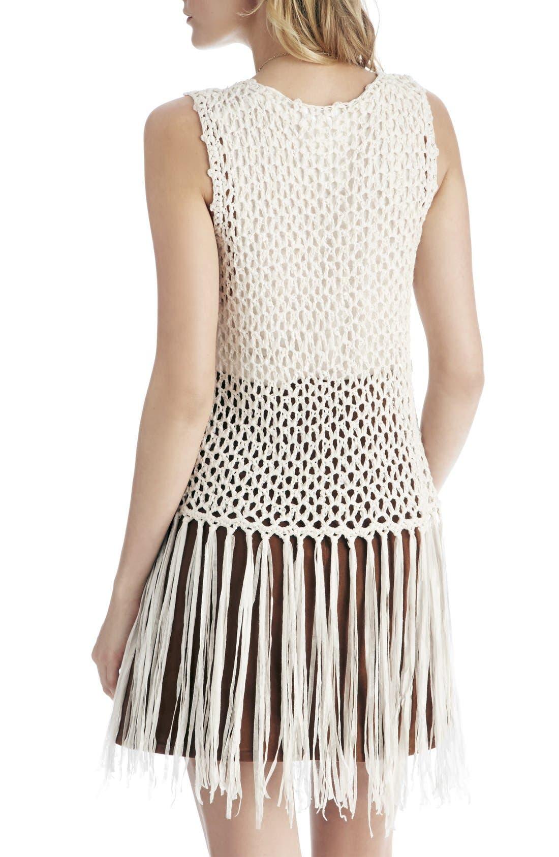 Alternate Image 2  - Sole Society Fringe Crochet Vest