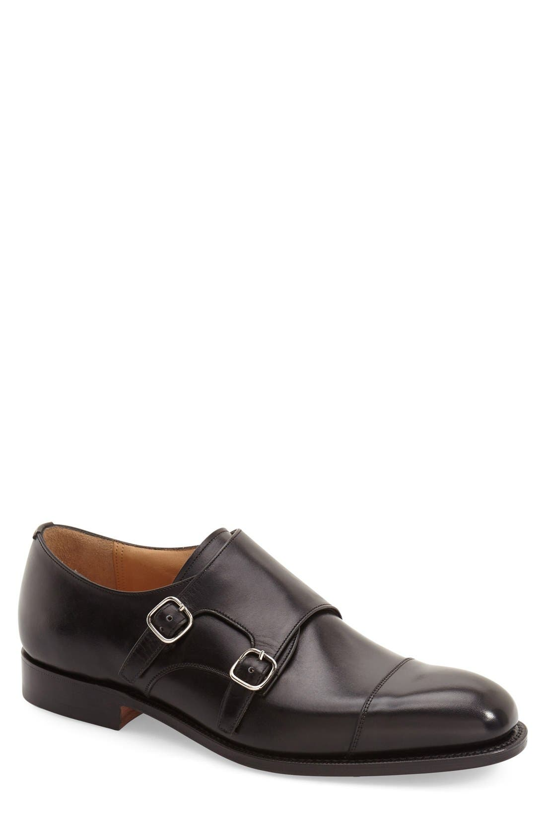'Cowes' Double Monk Strap Shoe,                             Main thumbnail 1, color,                             Black Leather