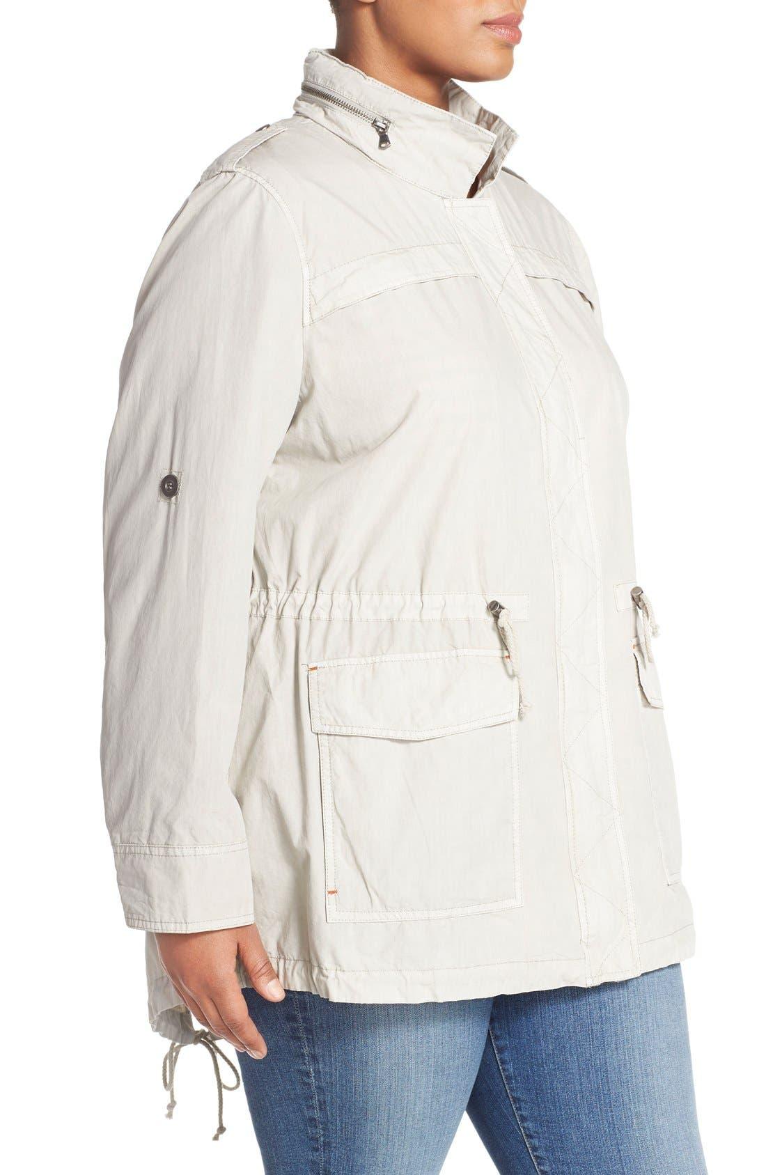 Parachute Hooded Cotton Utility Jacket,                             Alternate thumbnail 3, color,                             Moonbeam