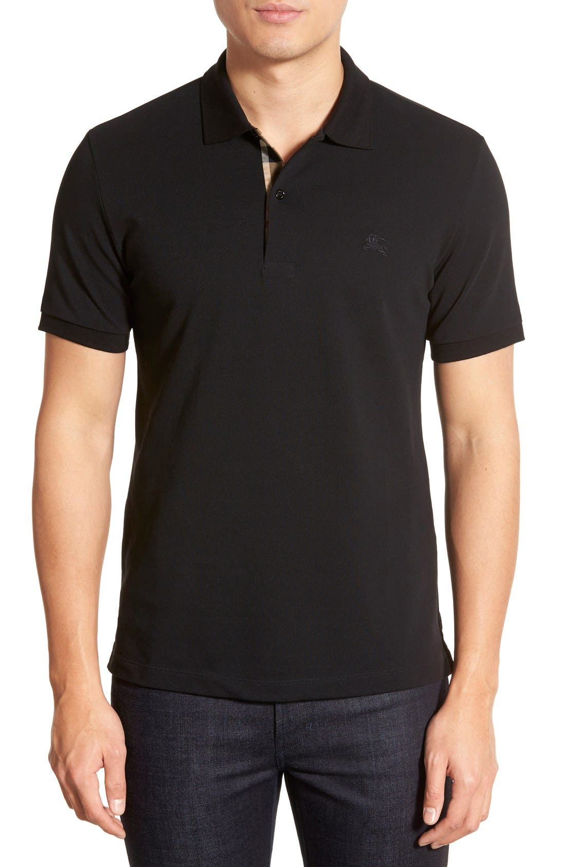 Piqué Polo,                         Main,                         color, Black