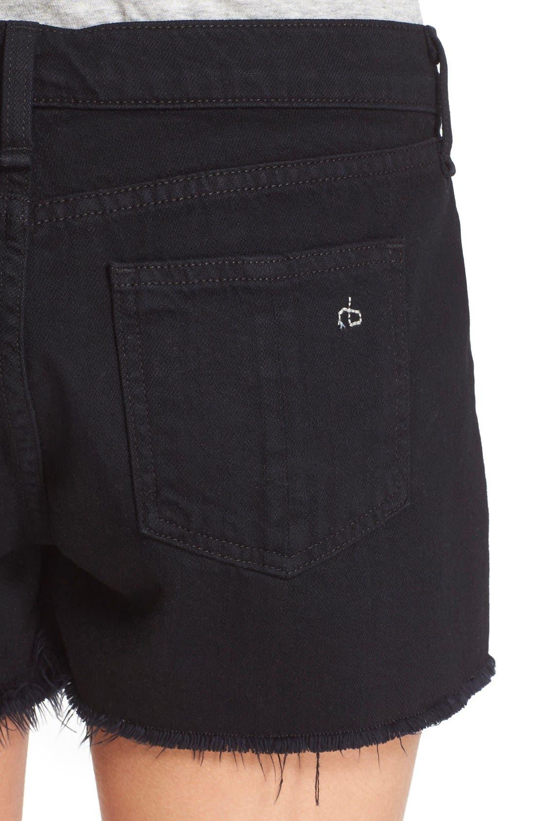 Cutoff Denim Shorts,                             Alternate thumbnail 4, color,                             Black Frpr