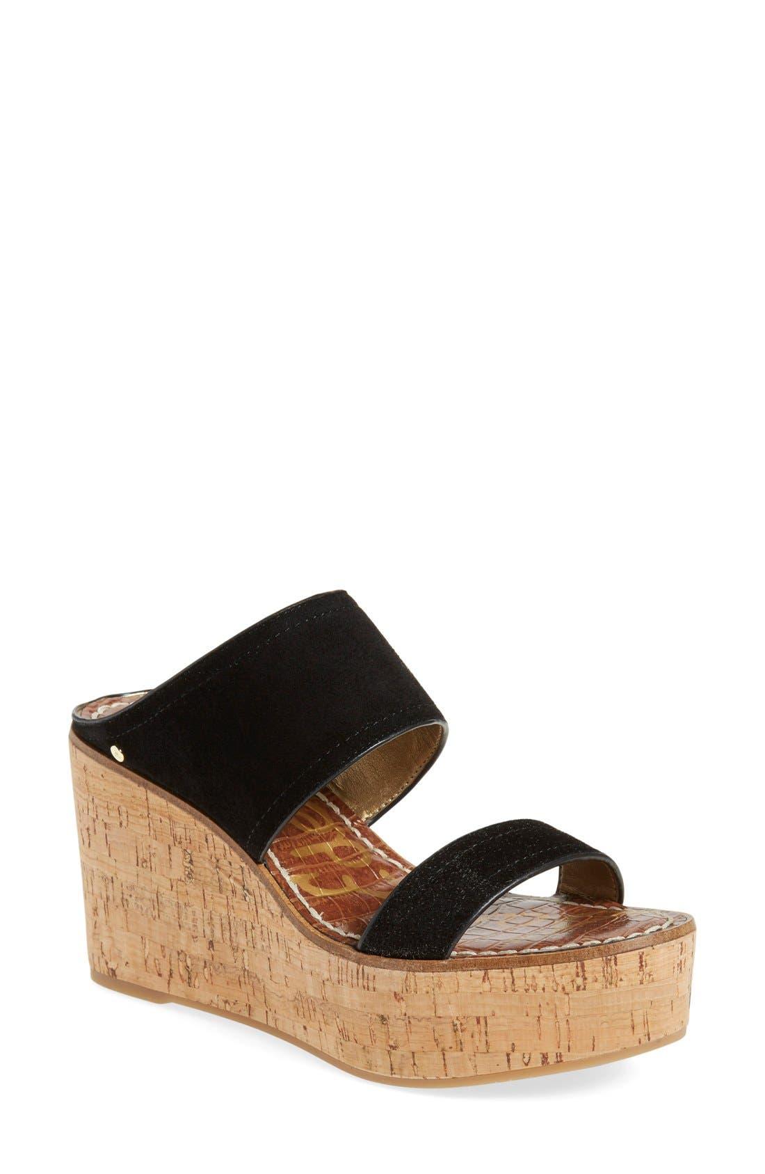 'Dali' Wedge Sandal,                             Main thumbnail 1, color,                             Black Suede